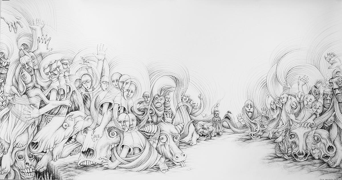 Eeva Honkanen,  Facing Fears , 2016. Ink drawing, 240 x 120 cm.
