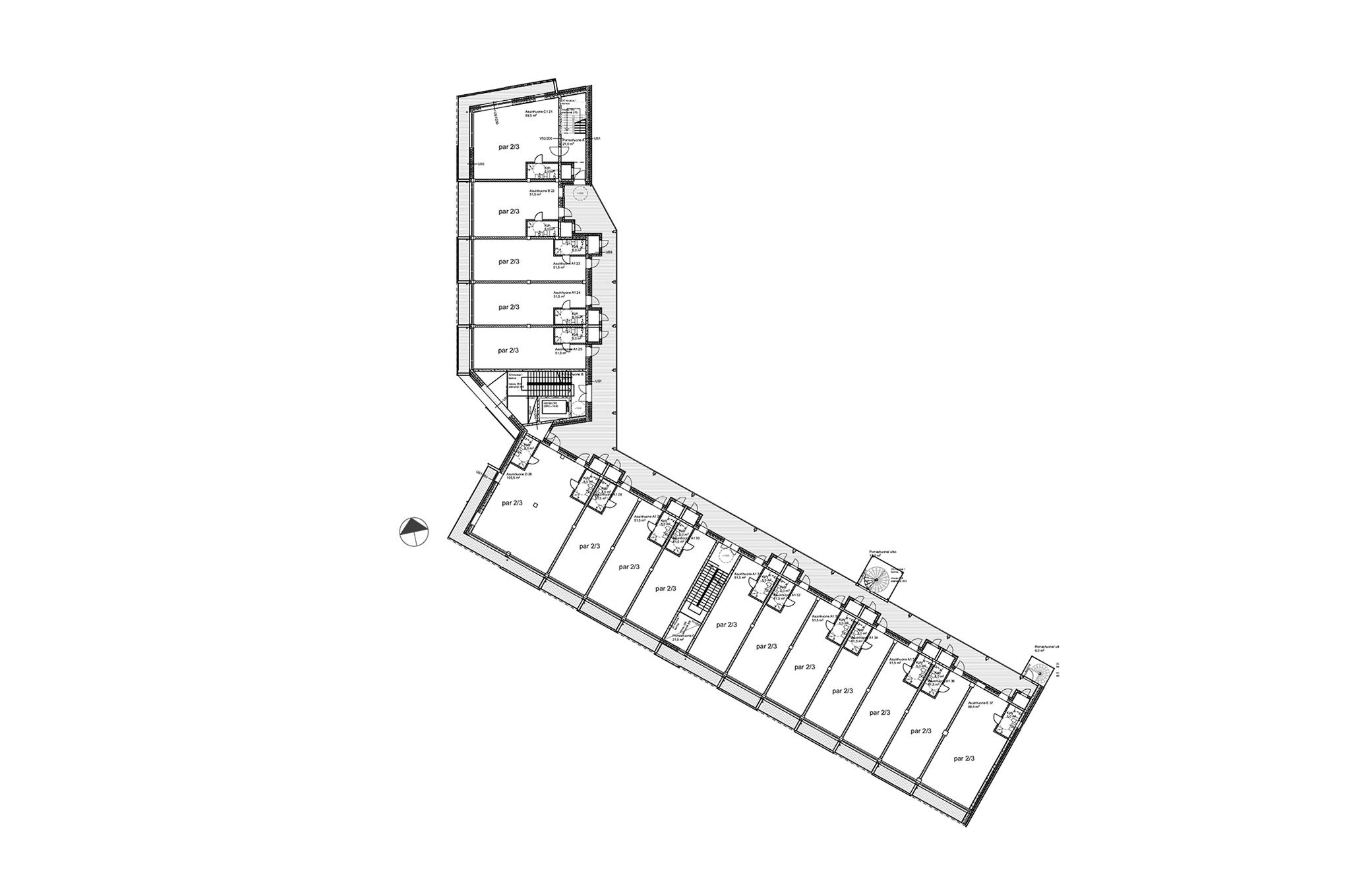 Talli Oy / Kruunuvuorenranta neo-loft apartment house, draft plan of the 3rd floor plan. Courtesy Anu Tahvanainen
