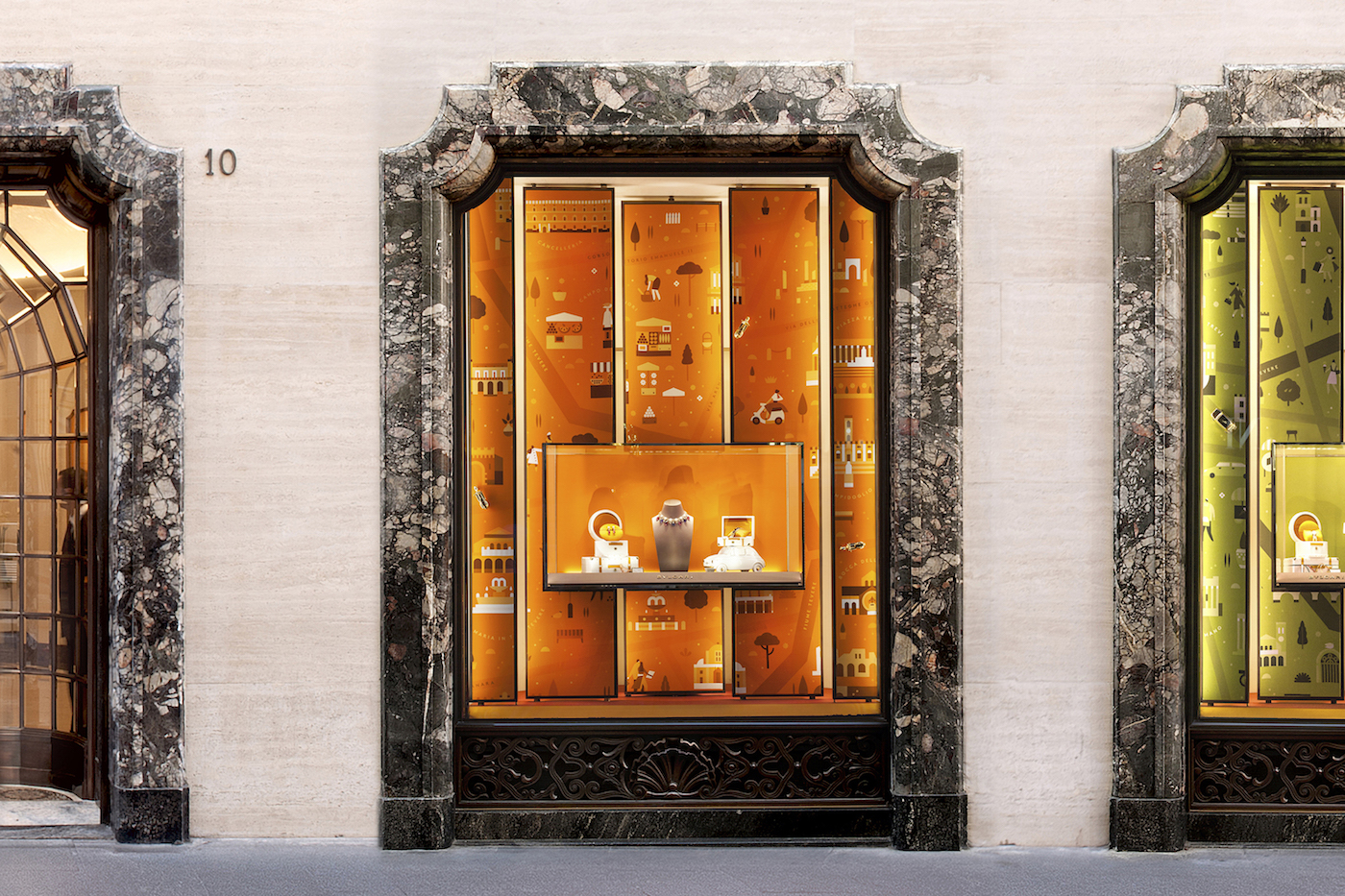One of Lotta Nieminen's recent illustration projects was creating new window displays for the Italian jewelry brand Bvlgari.