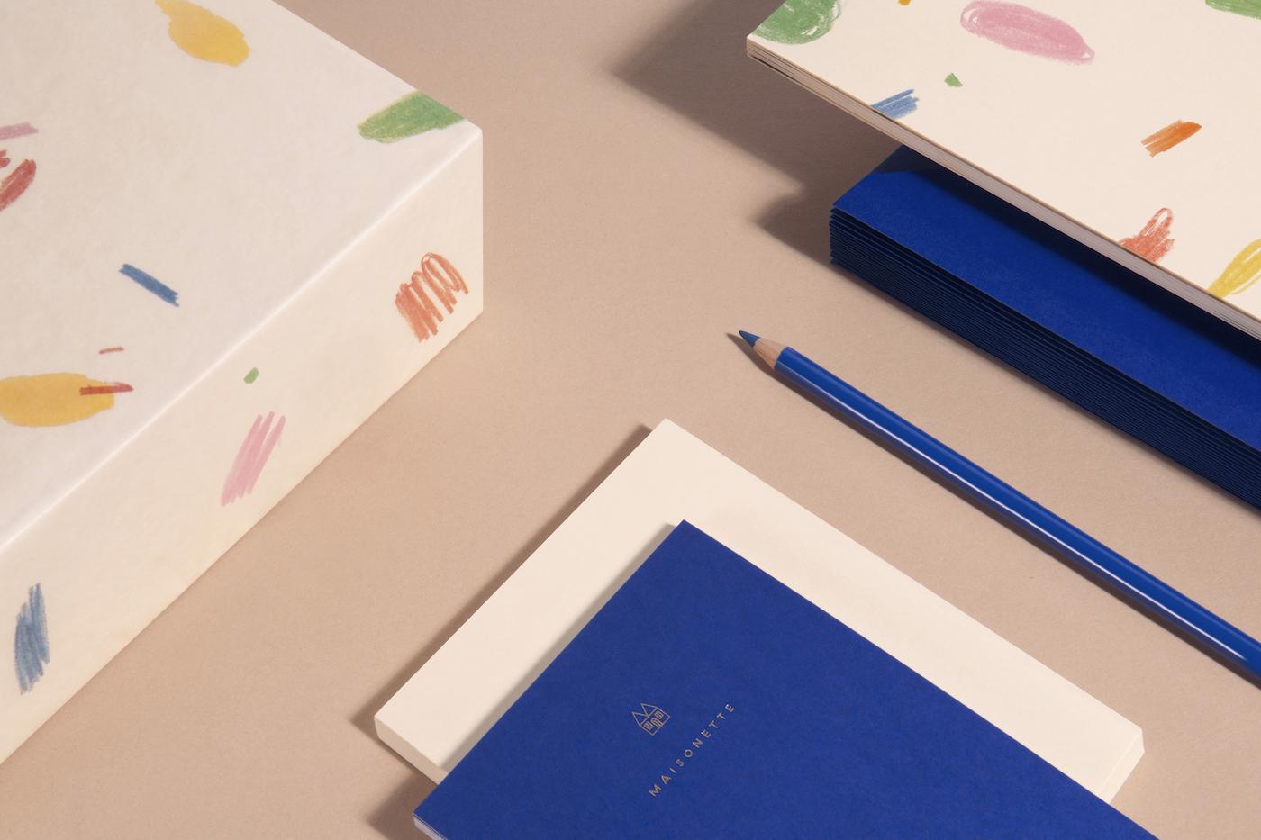 Packaging and stationary design for Maisonette, 2017.