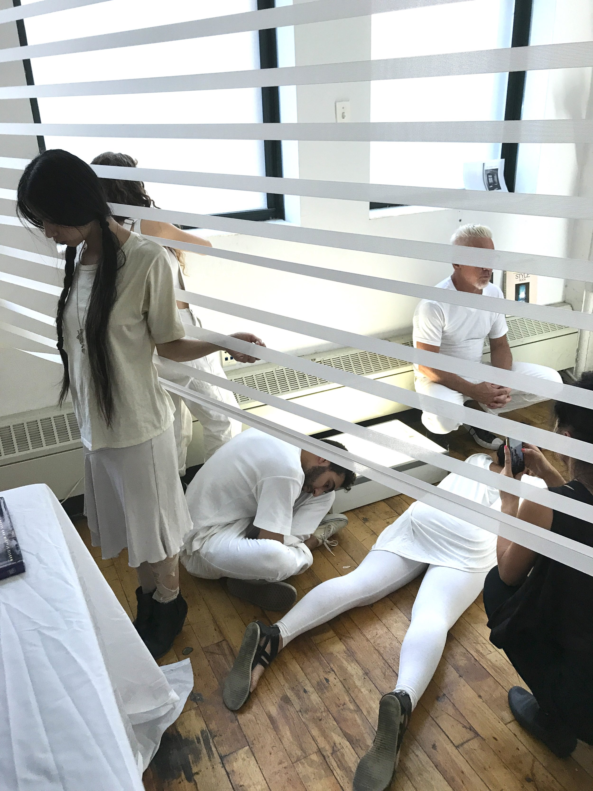 Henna-Riikka Halonen was Triangle Arts Association's and FCINY's artist-in-residence in June-August 2017. Her residency concluded in a day-long performative installation  Pinch, Fold, Cut, Line that Halonen choreographed in collaboration with Cheryl Wing-Zi Wong.