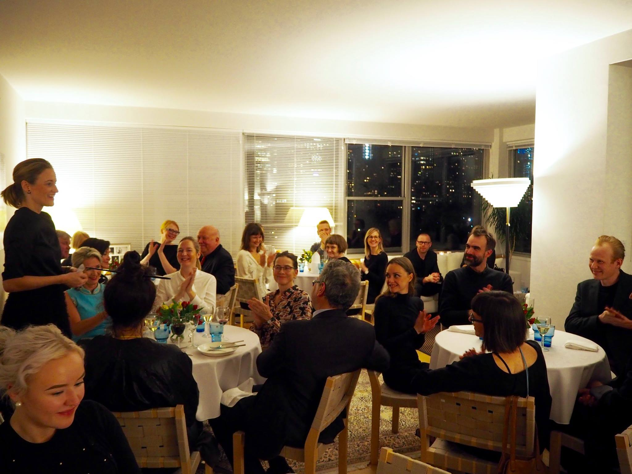 Happy guests at the dinner party at the Consulate General of Finland's residence on November 30, 2017. The intimate event brought together FCINY's board members, New York partners and colleagues, and Finnish designers and artists and designers who live in the city.