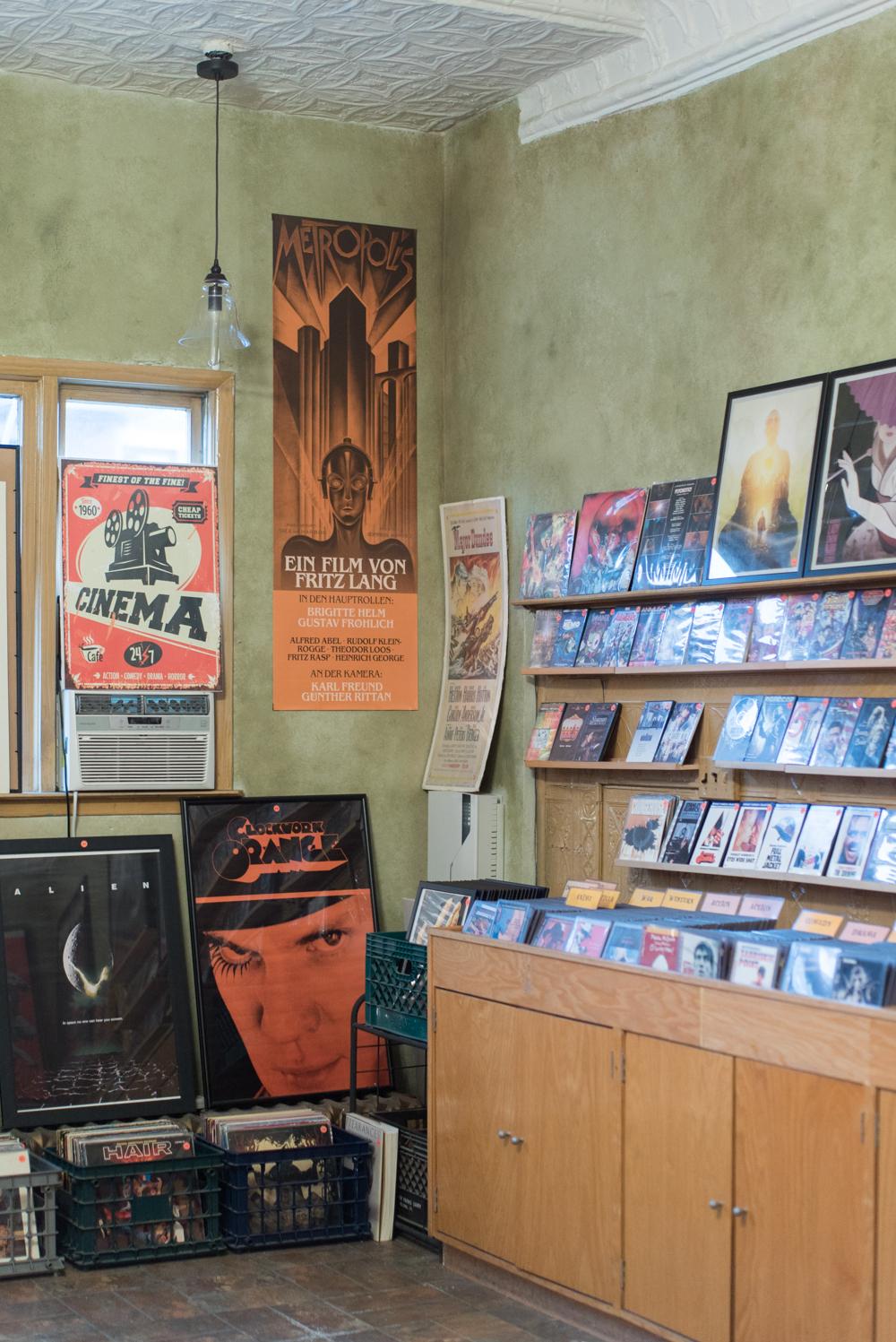 Besides movies Film Noir Cinema sells used records.