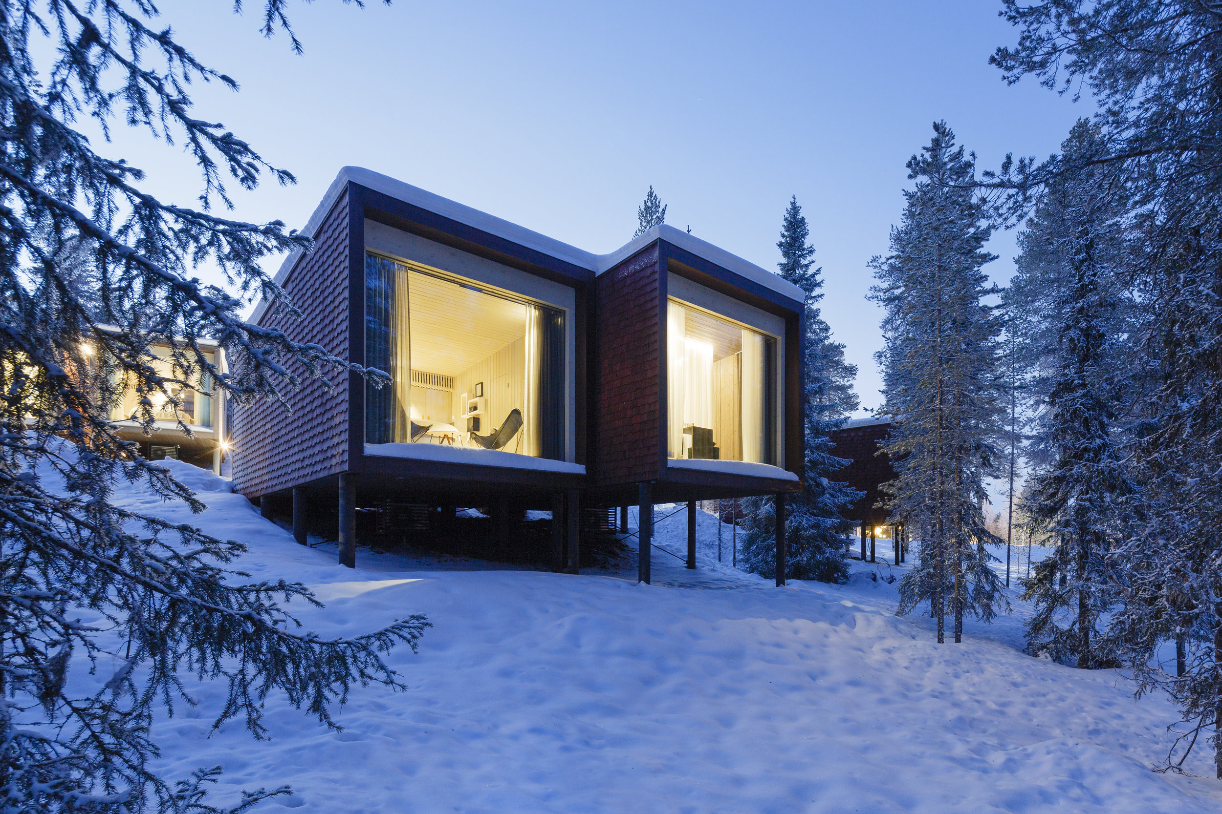 Arctic Treehouse Hotel by Studio Puisto Architects. Photo: Marc Goodwin.