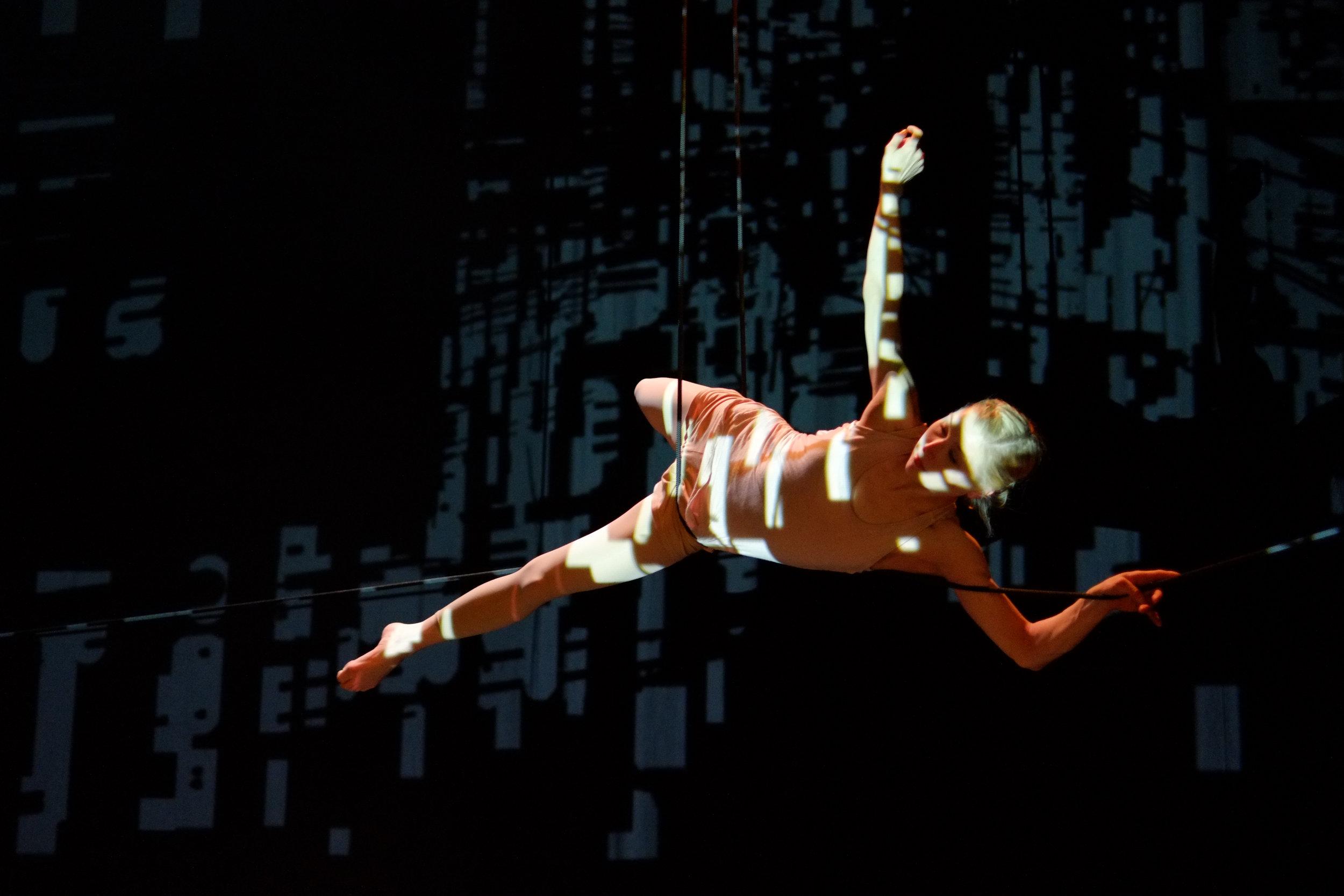 Architect Tuula Jeker creates site-specific performances with aerial artist Ilona Jäntti.