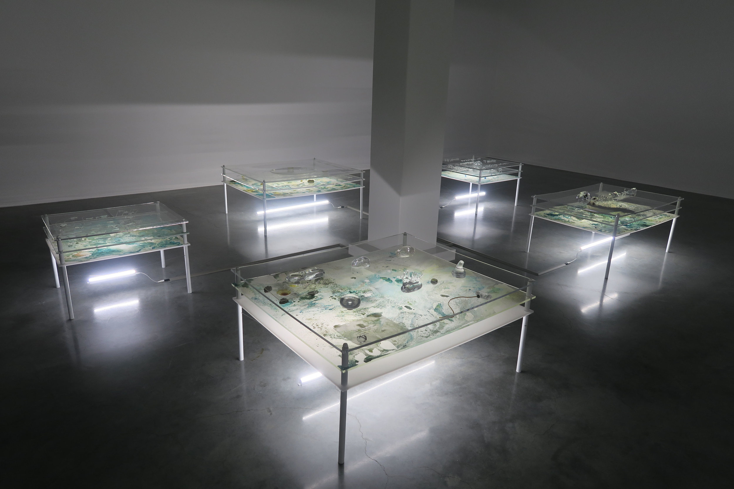 Tuomas Aleksander Laitinen, Dossier of Osmosis , mixed media installation with ultrasonic speakers, exhibition view at the 21st Biennale of Sydney, 2018. Courtesy the artist and Helsinki Contemporary,