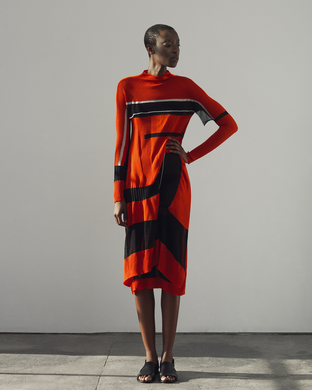Varpu Rapeli's Parsons' MFA Fashion Design graduate collection, 2015. Photos left and right: Nina Merikallio.