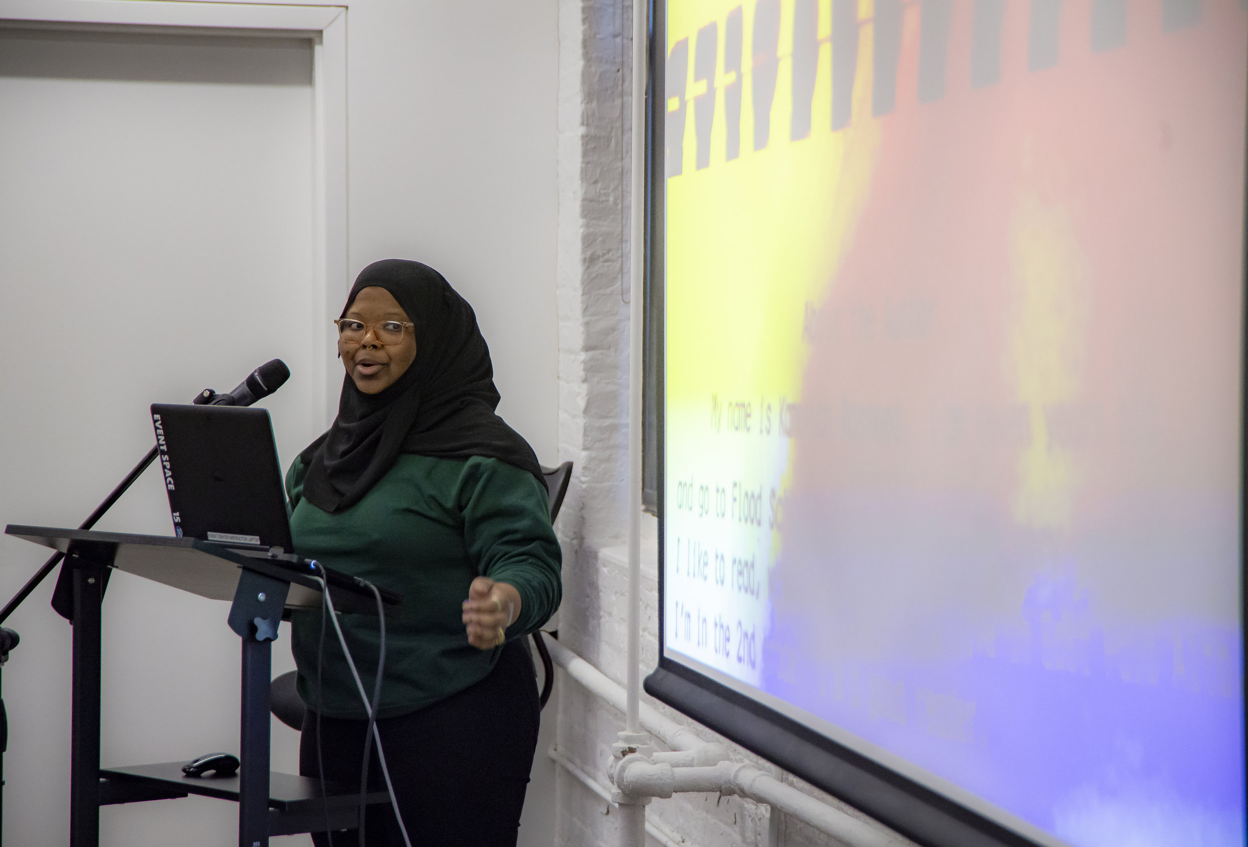 Artist Kameelah Janan Rasheed talked about her artistic work with the libraries. Photo: Aidan Smith.