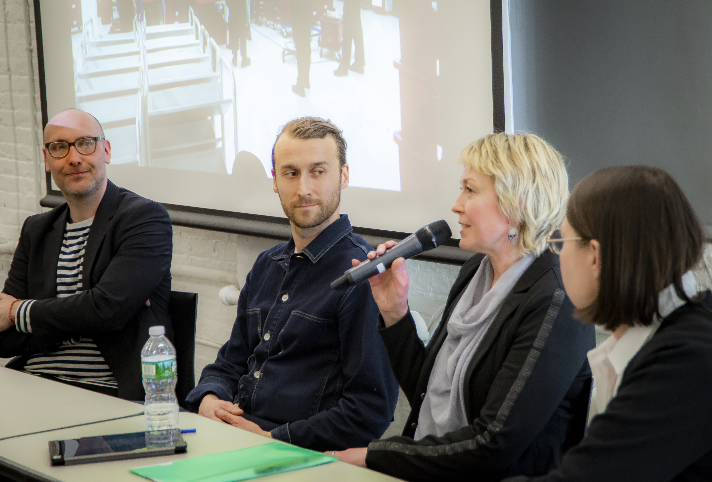 Jussi Parikka, Ilari Laamanen, Laura Norris and Anni Vartola discussed the Library's Other Intelligences art project at Helsinki Central Library Oodi. Photo: Aidan Smith