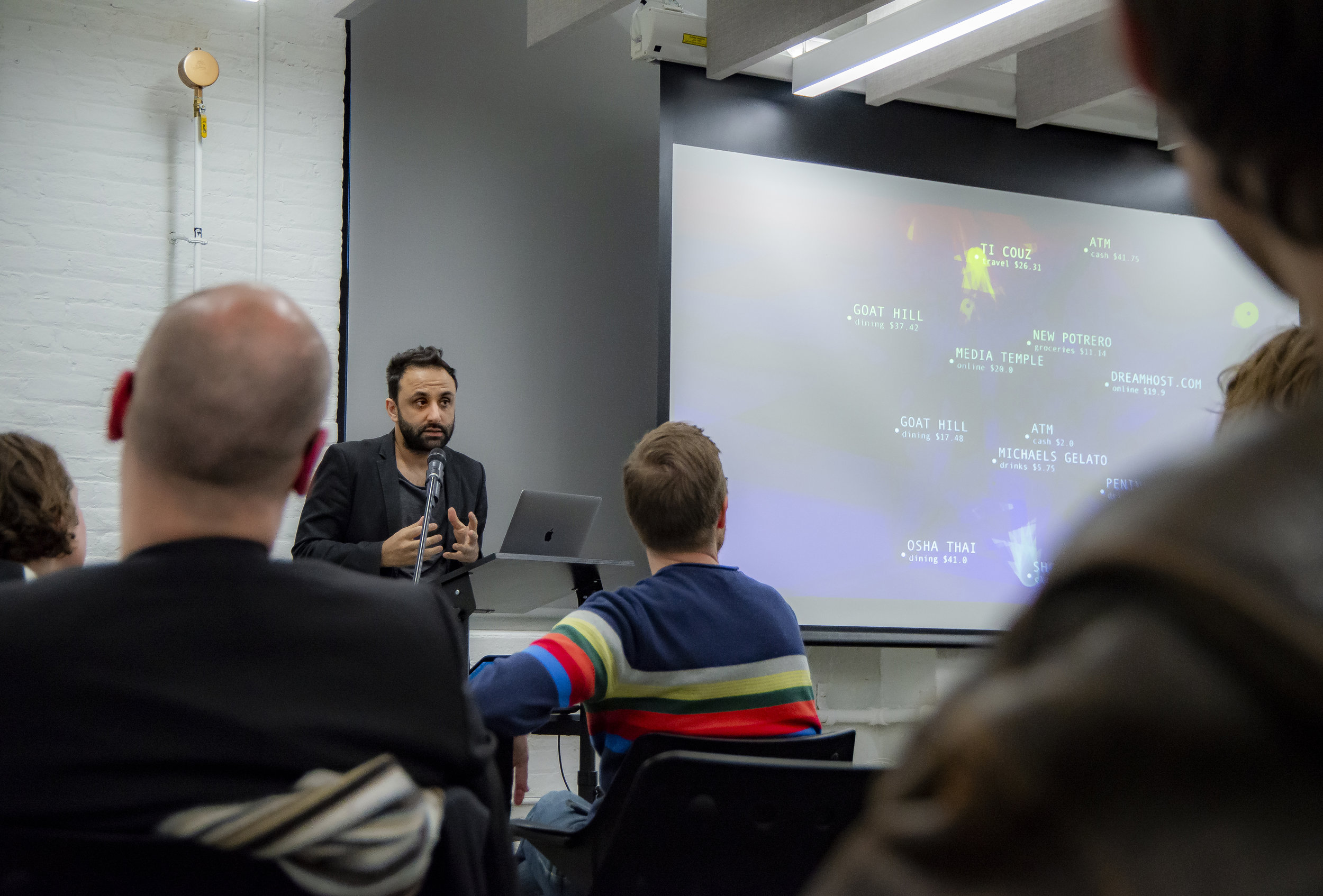 Artist Burak Arikan told about his work with complex networks. Photo: Aidan Smith.