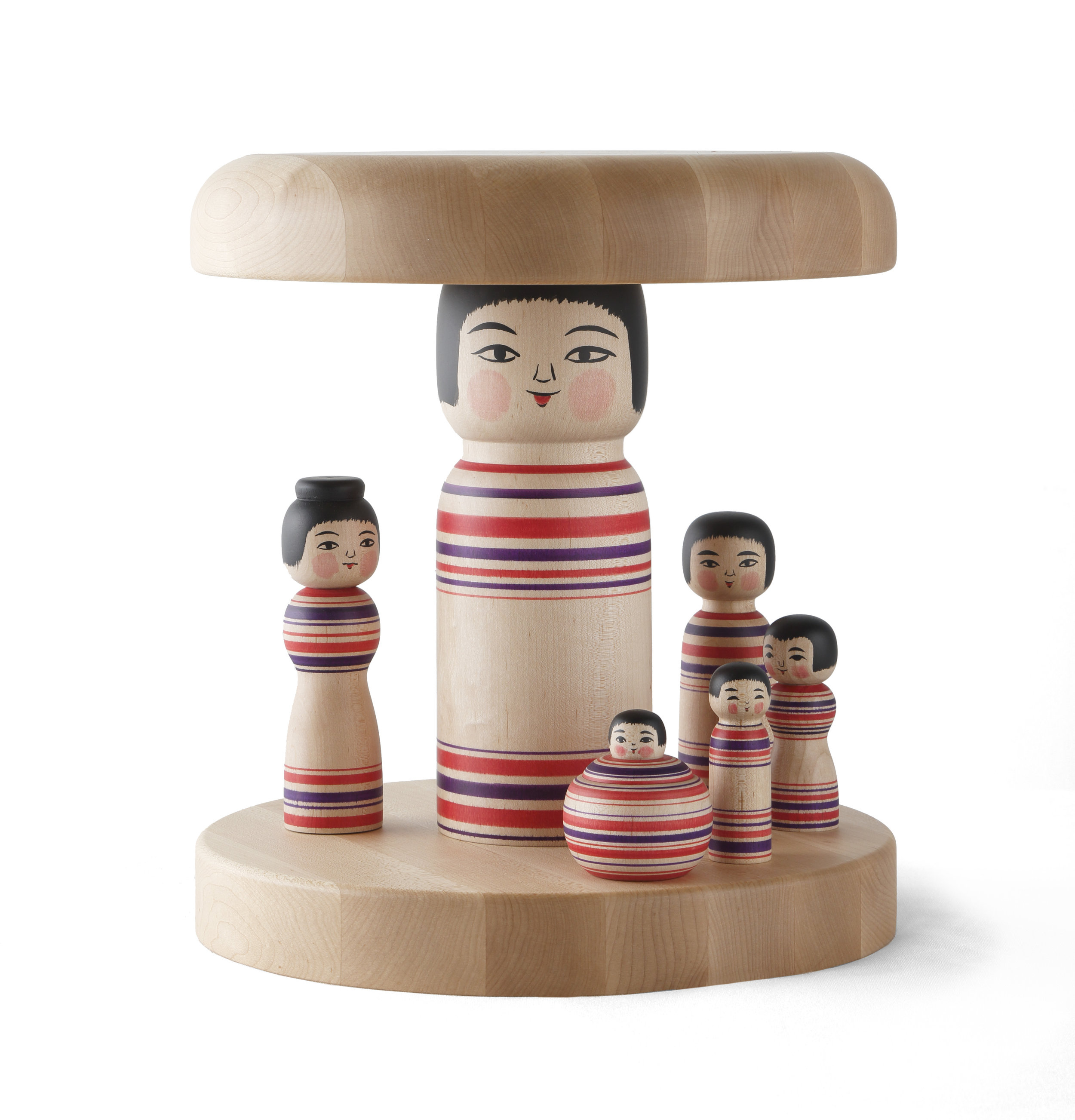 Kokeshi Family Stool, Part of Secrets of Japan collection. Material: Japanese & Finnish Maple wood, Paint, Lacquer. Made by Master Abo Mutsihide in Kuroishi, Japan. Maple top, base and assembly made by Punavuoren Puuhevonen, Finland. Designed by COMPANY / Aamu Song, 2015. Photo: COMPANY