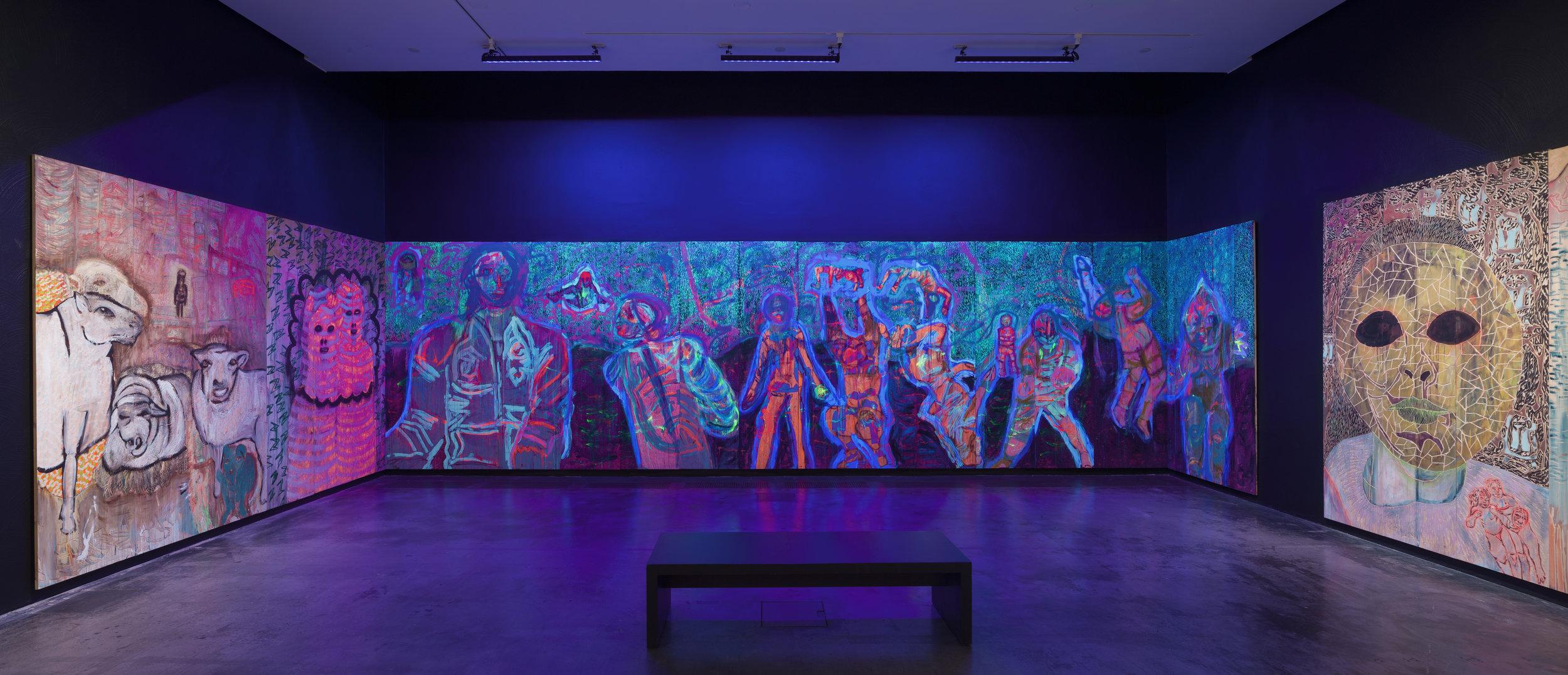 Installation view to Camilla Vuorenmaa's painting installation  Chamber , 2017, at the Ars Fennica nominee exhibition in Kiasma October 2017 – February 2018. Photo: Finnish National Gallery / Pirje Mykkänen