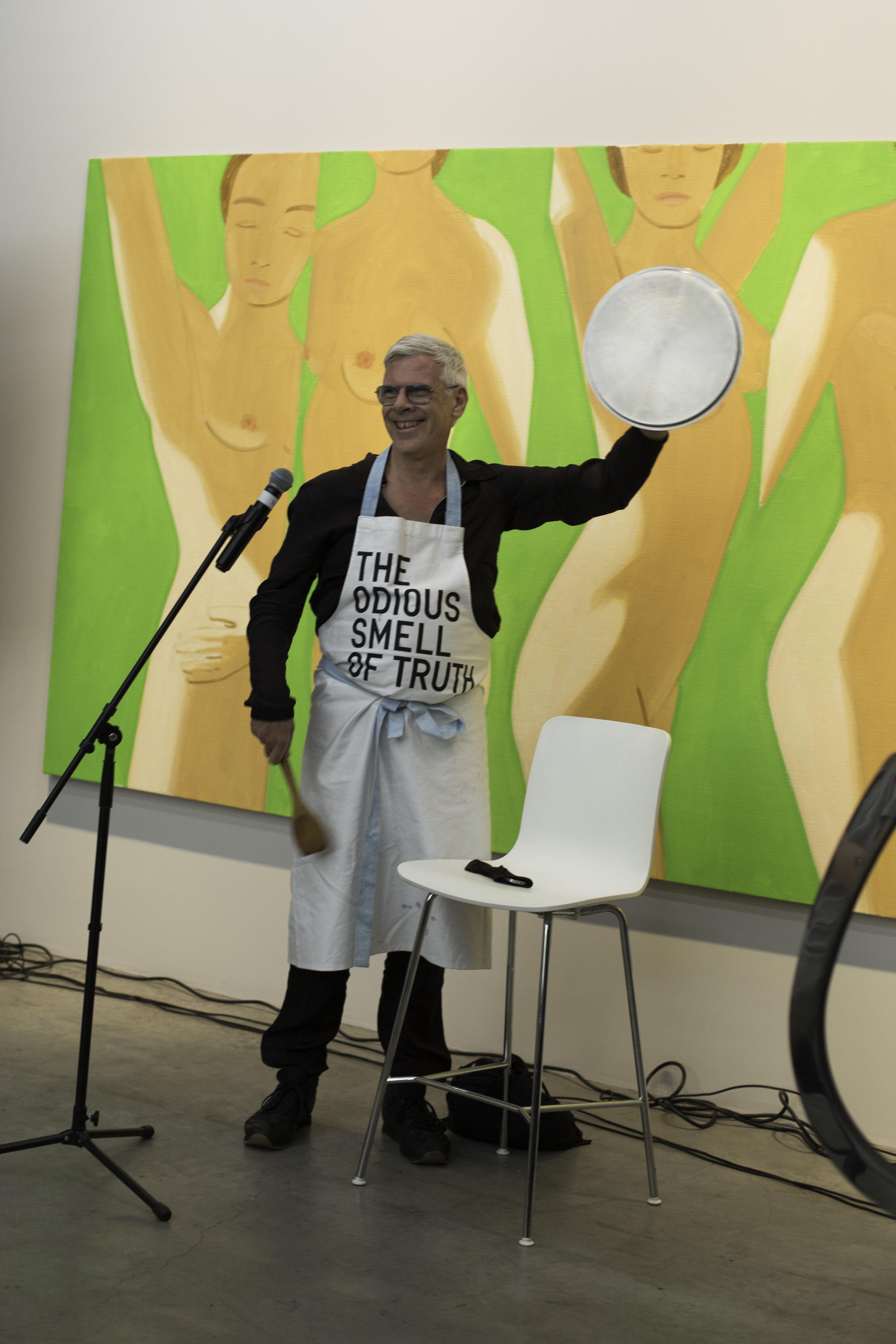 Artist  Karl Holmqvist  read excerpts from the book. Photo: Kathryn Ryan