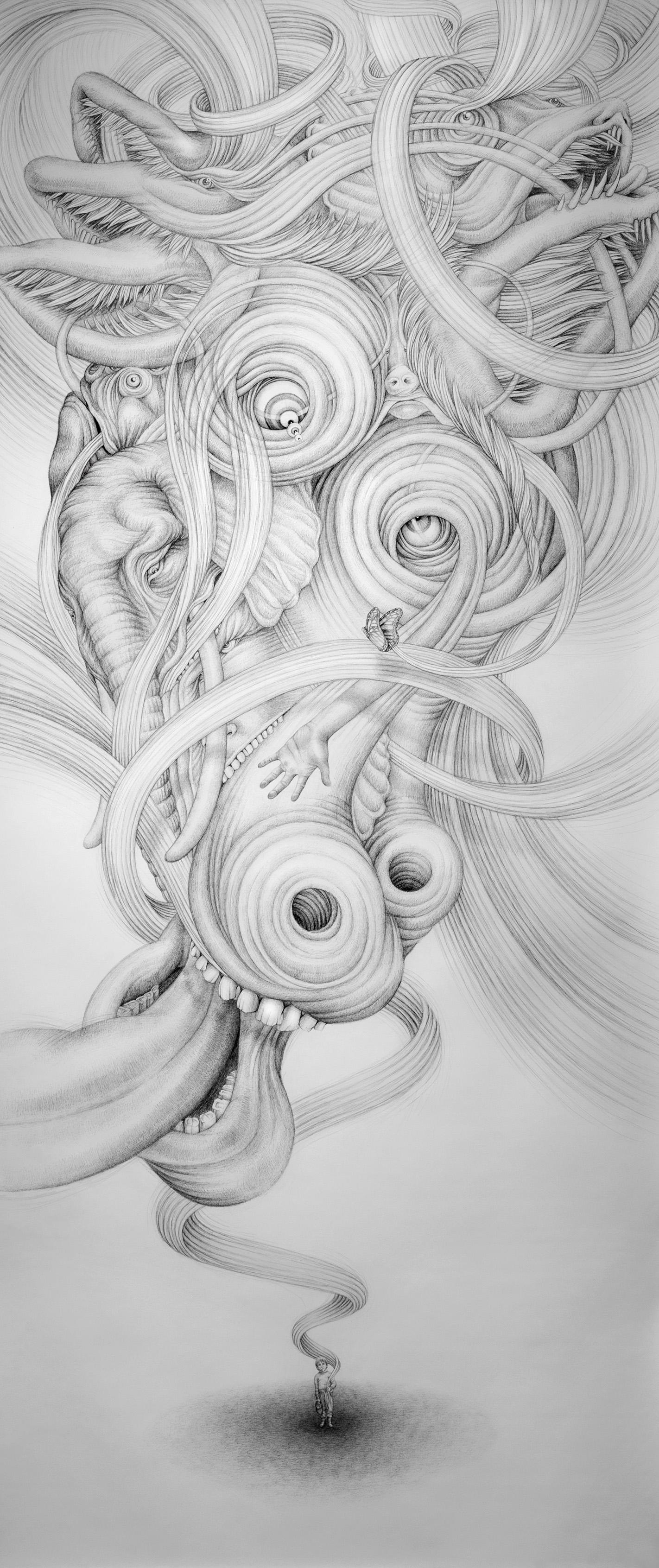 Eeva Honkanen,  Butterfly Effect  (2016), inkpen on paper. Picture by Maija Toivanen.