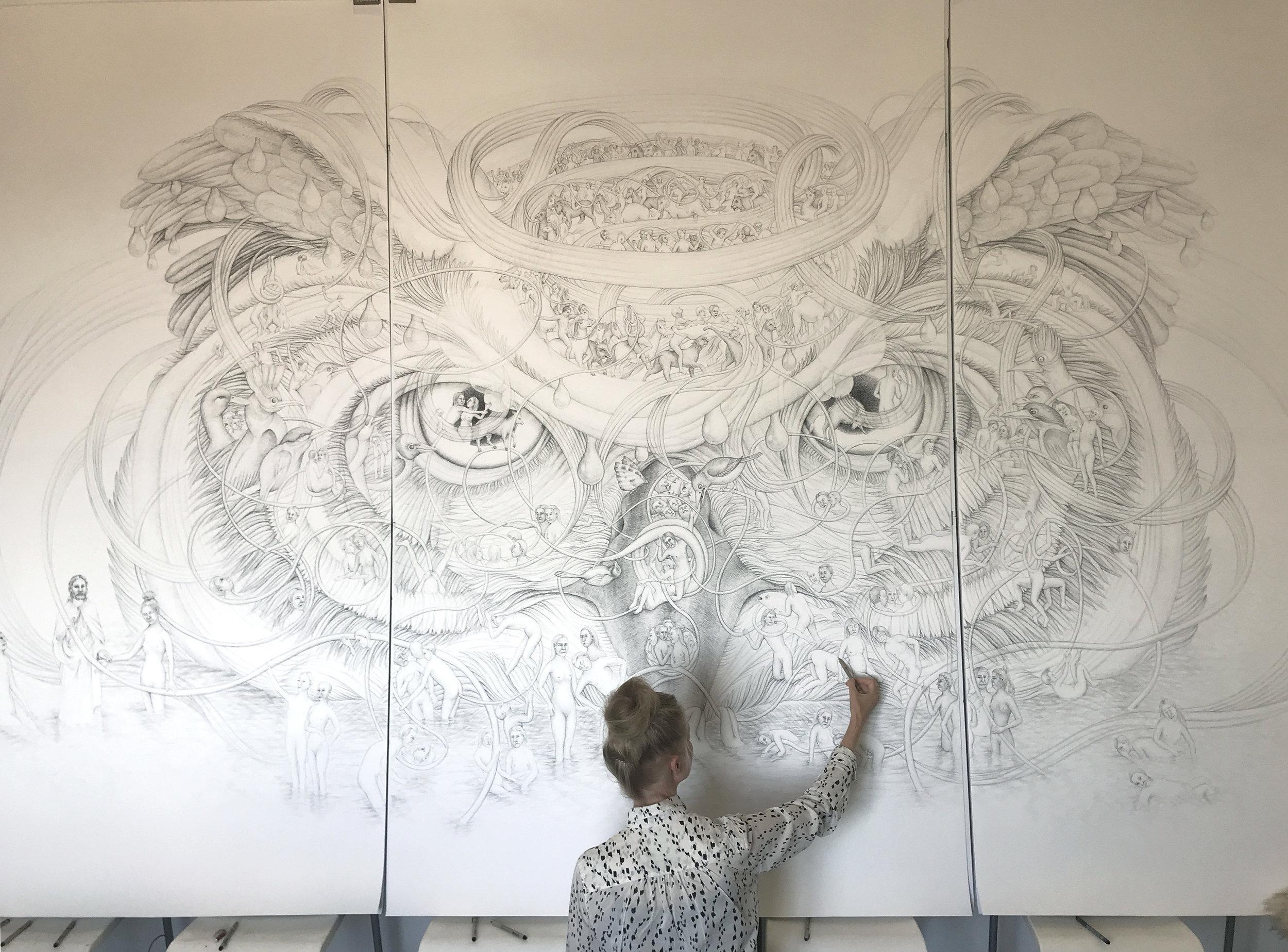 Eeva Honkanen with  The Owl's Head  (2019), inkpen on paper. Picture by Vanessa Kowalski.