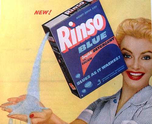 Give those filthy rags the pretense of cleanliness with new Rinso Blue!