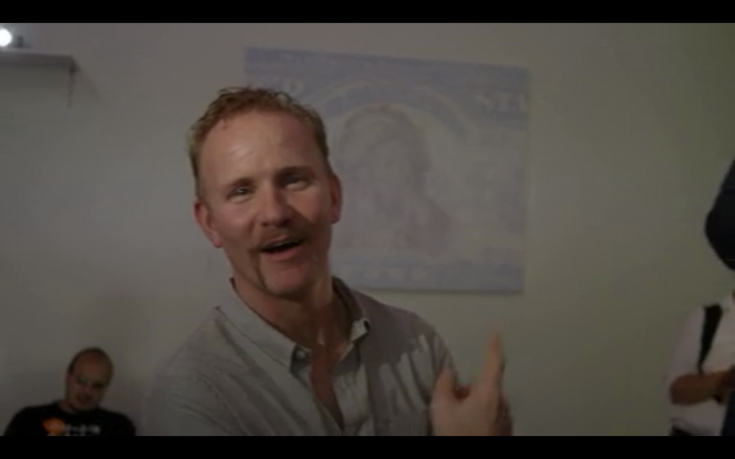 """""""Running Antelope"""" is one of several of Jenna Lash's works in the Monetary Series on display while Morgan Spurlock visits Manhattan's Bitcoin Center."""