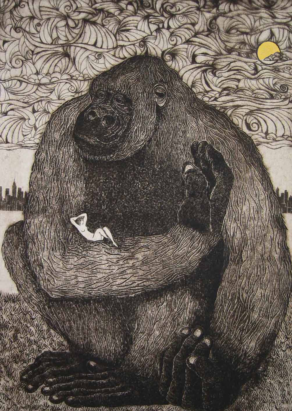 "King Kong and Fay Wray , Bonnie Burkee, 16"" x 11.25"", intaglio and gold leaf"