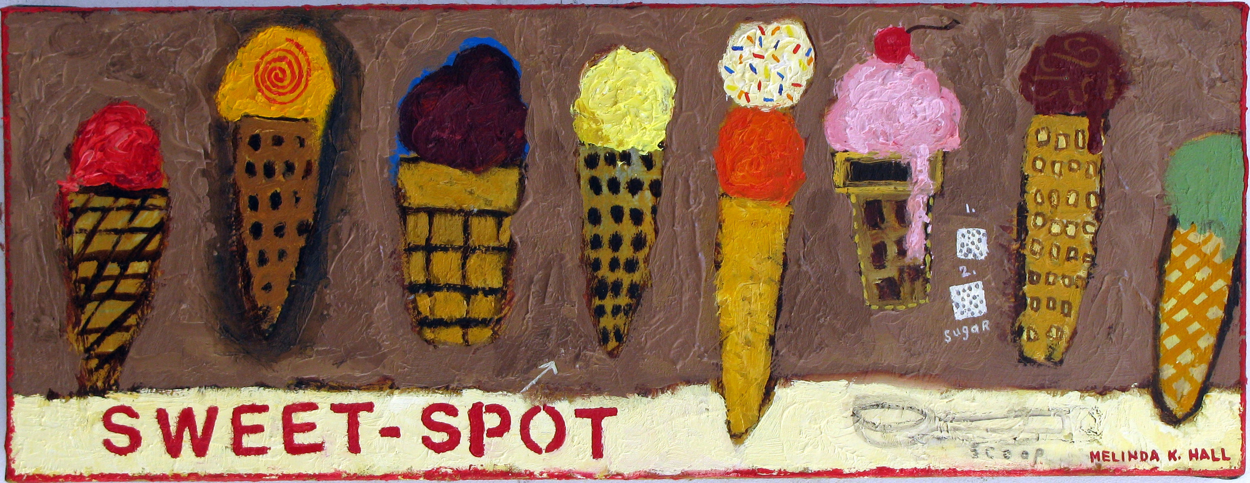 "Melinda K. Hall,  Sweet-Spot , 12"" x 28"", oil on canvas"