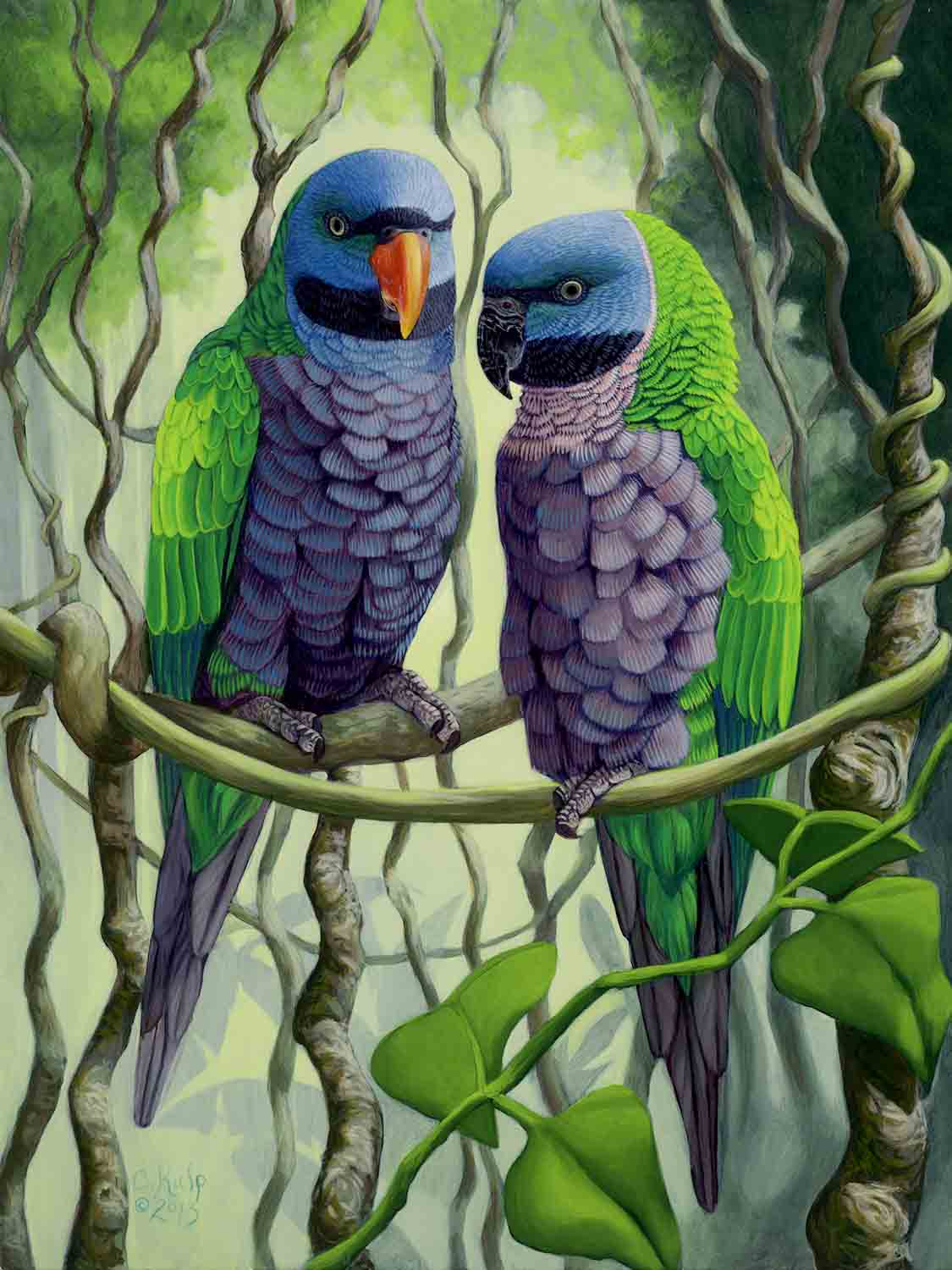 "Cindy Kulp,  Derbyan Parrots , 18"" x 15"", oil on board"