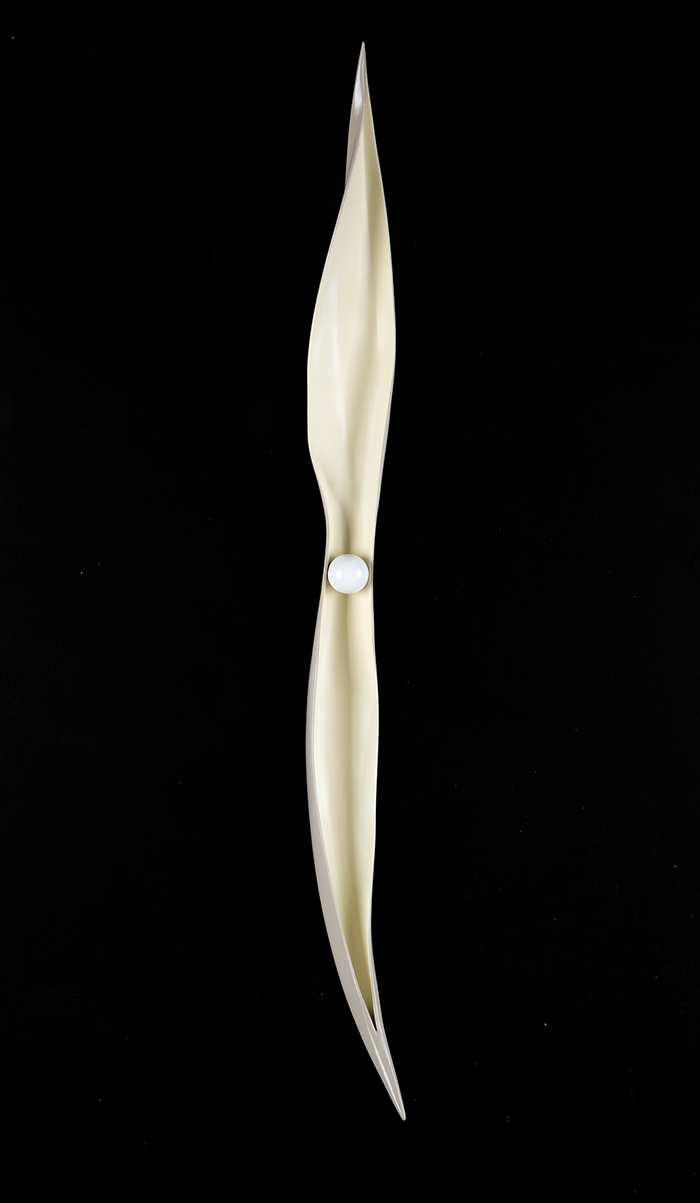 """Helen Harrison,  palm sculpture,  61"""" x 5"""" x 8"""""""