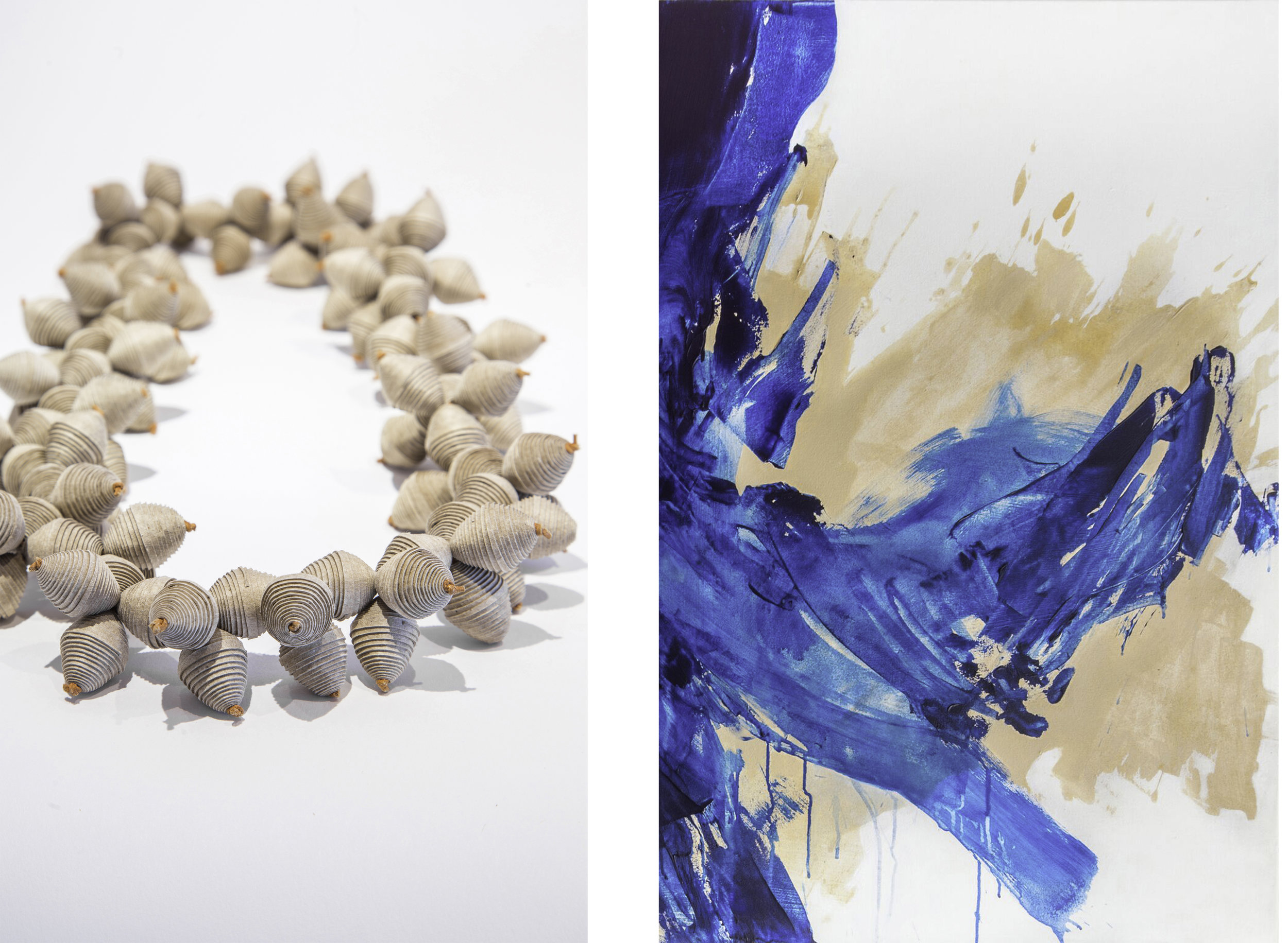 Kiff Slemmons, paper necklace :: Katie Pumphrey, detail of  Hold Your Breath #2 , acryllic on canvas