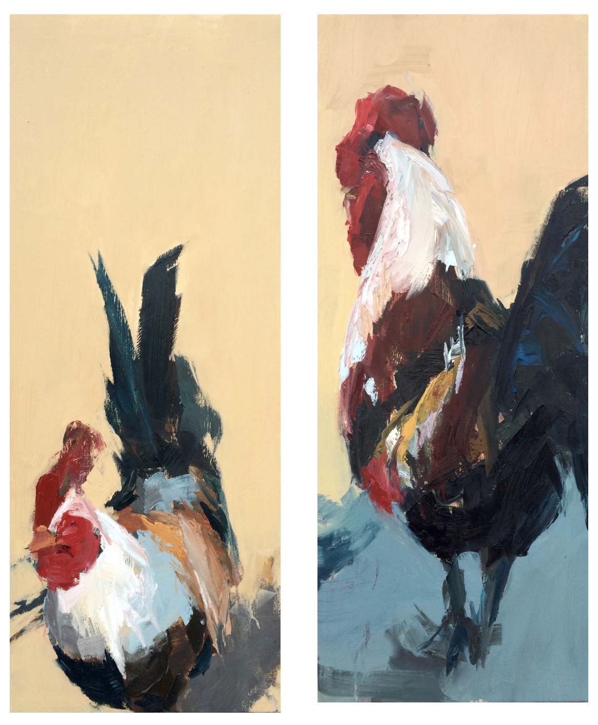 "Katie Pumphrey, Standoff I & II, 34""x14"", oil on canvas, 2015"
