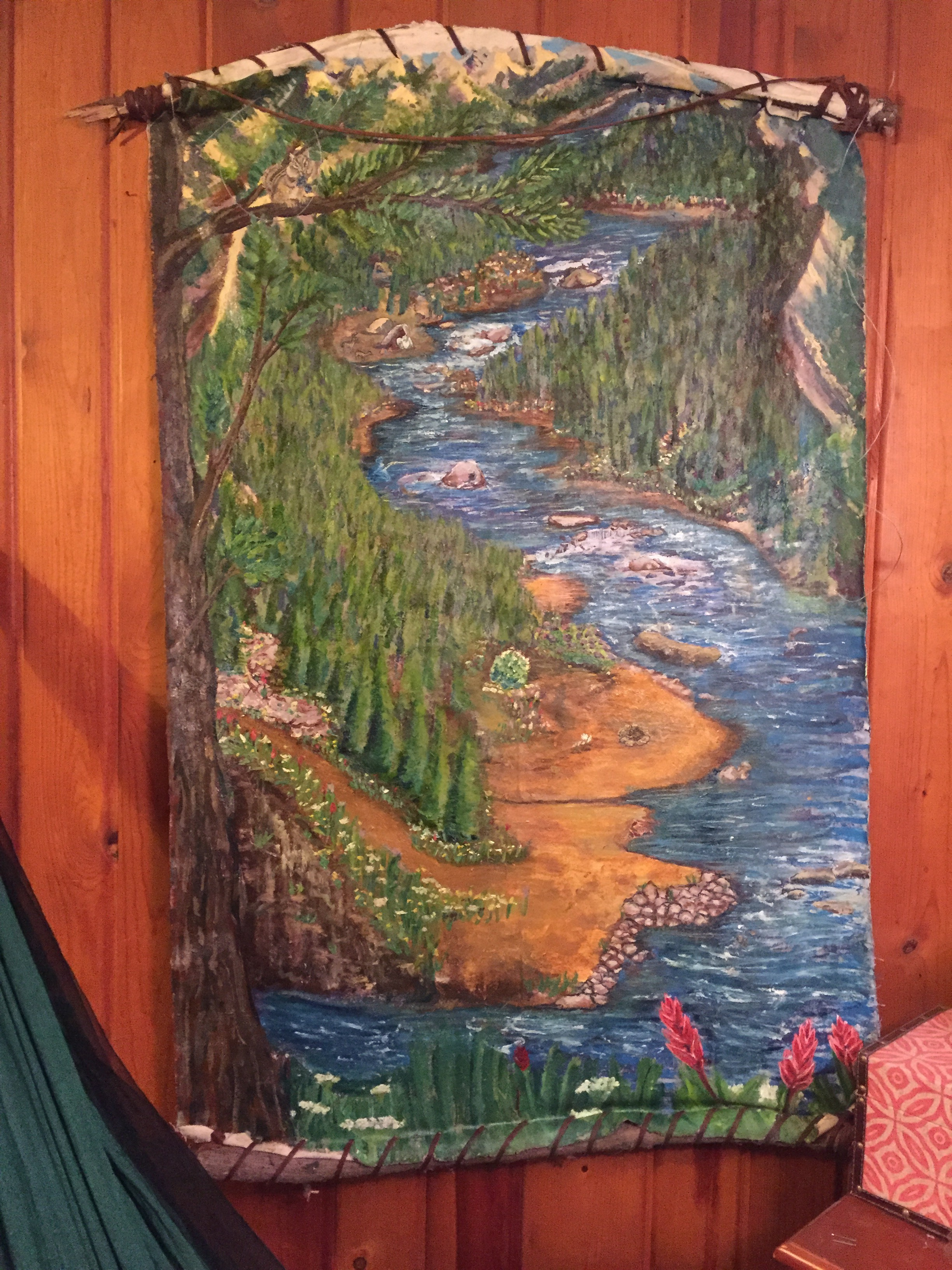 This is where the painting will live happily from now on. The scenic view from an indoor hammock.