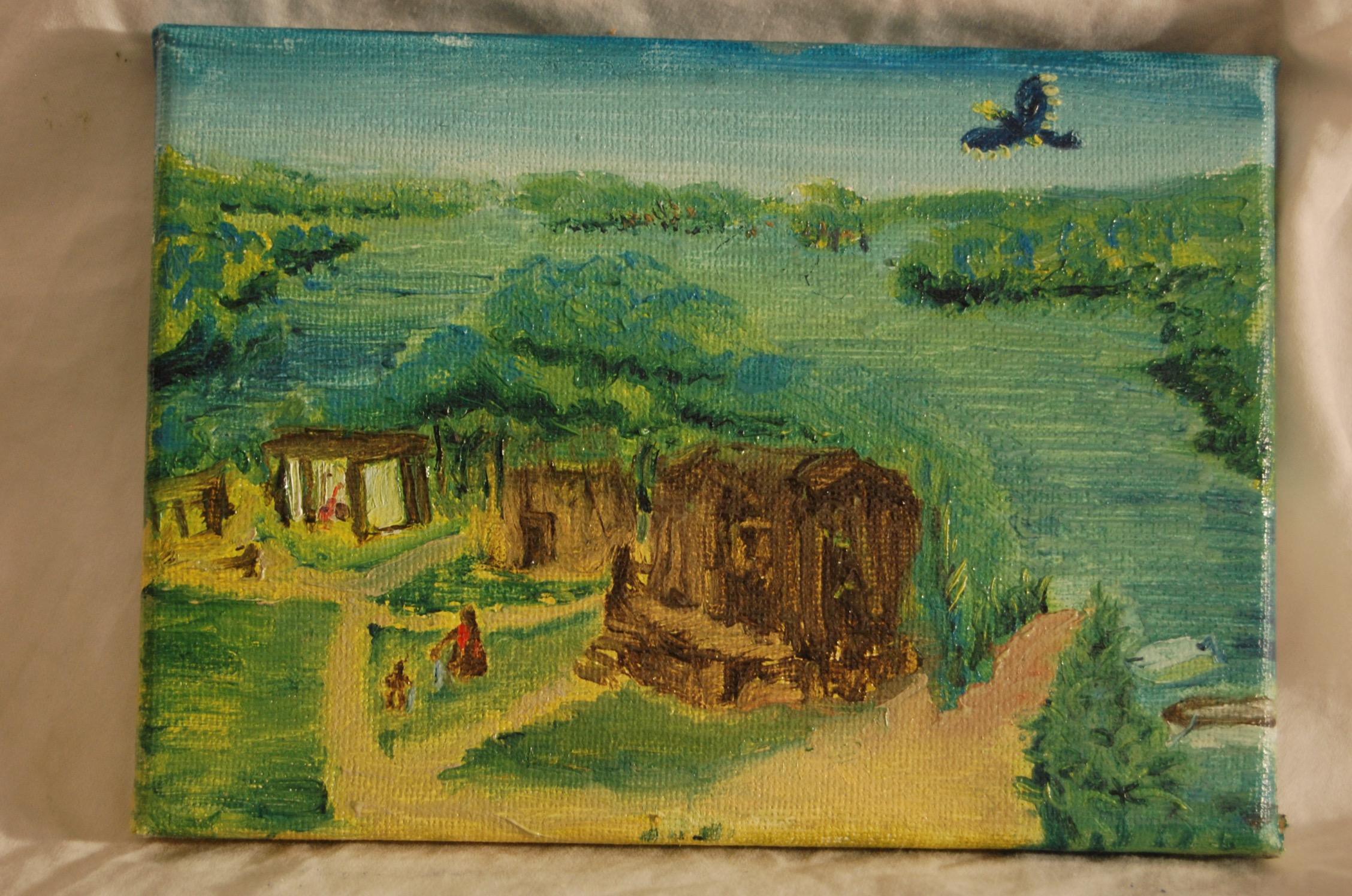 Malaysia - Machete Kid  Oil on Canvas  4 x 6