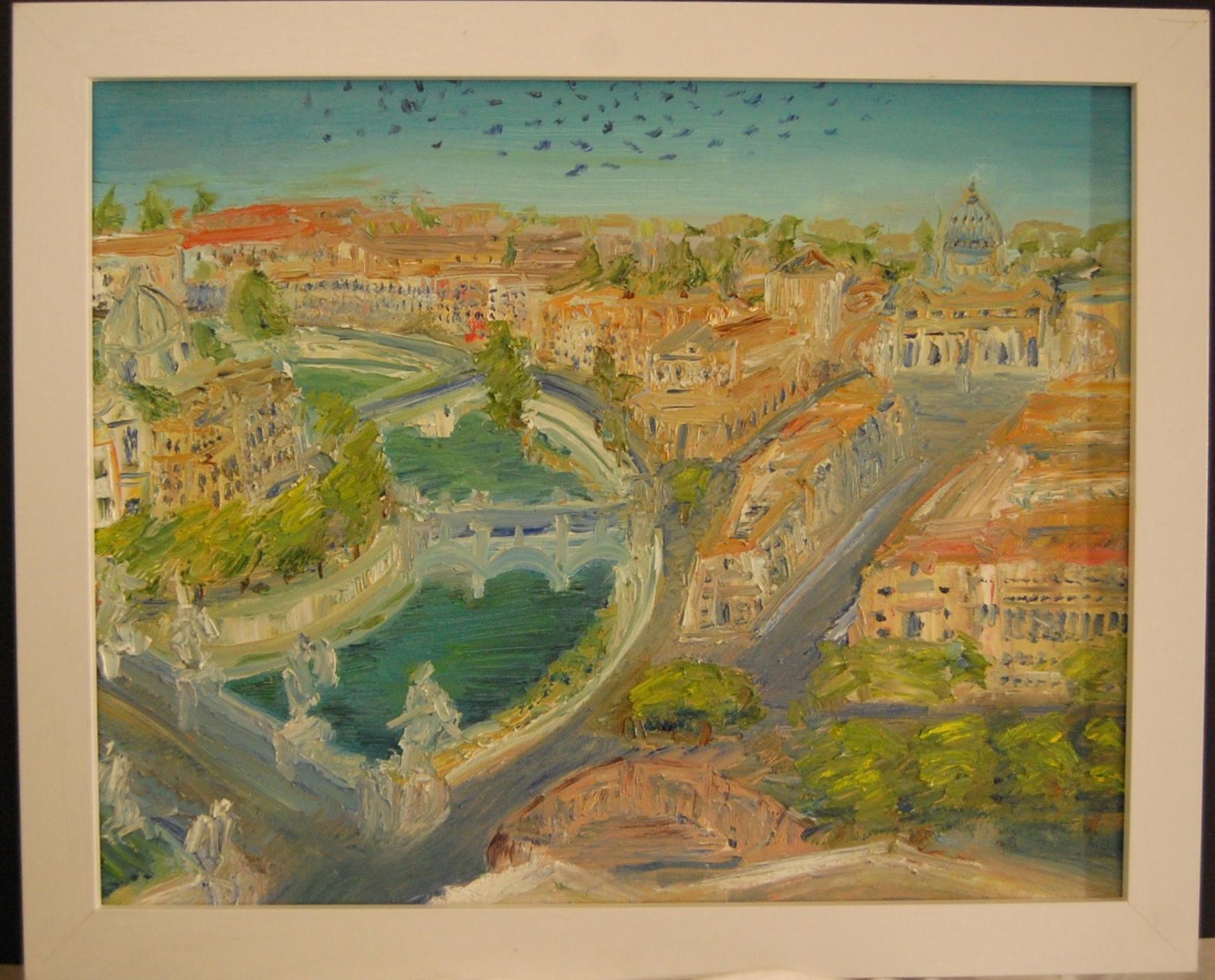 Vista del Vaticano dal castello D'Angelo  Oil on Canvas  16 x 20