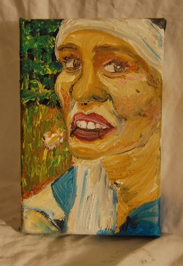 TarinLaughCrying  Oil on canvas  4 x 6