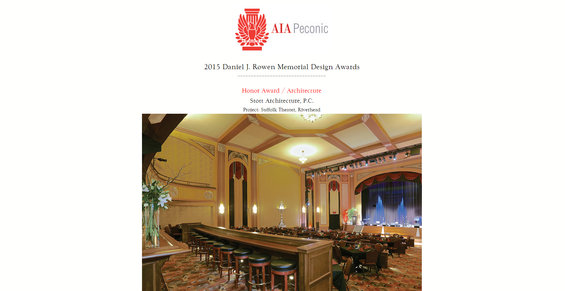 2015 Daniel J. Rowen Memorial Design Awards AIA Peconic (January 2015)