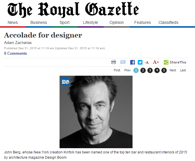 Accolade for Designer The Royal Gazette (December 2015)
