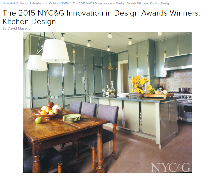 The 2015 NYC&G Innovation in Design Awards Winners: Kitchen Design New York Cottages & Gardens (October 2015)