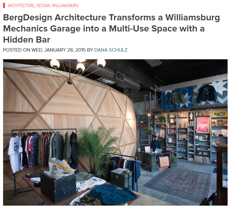 BergDesign Architecture Transforms a Williamsburg Mechanics Garage into a Multi-Use Space with a Hidden Bar 6sqft (January 2015)
