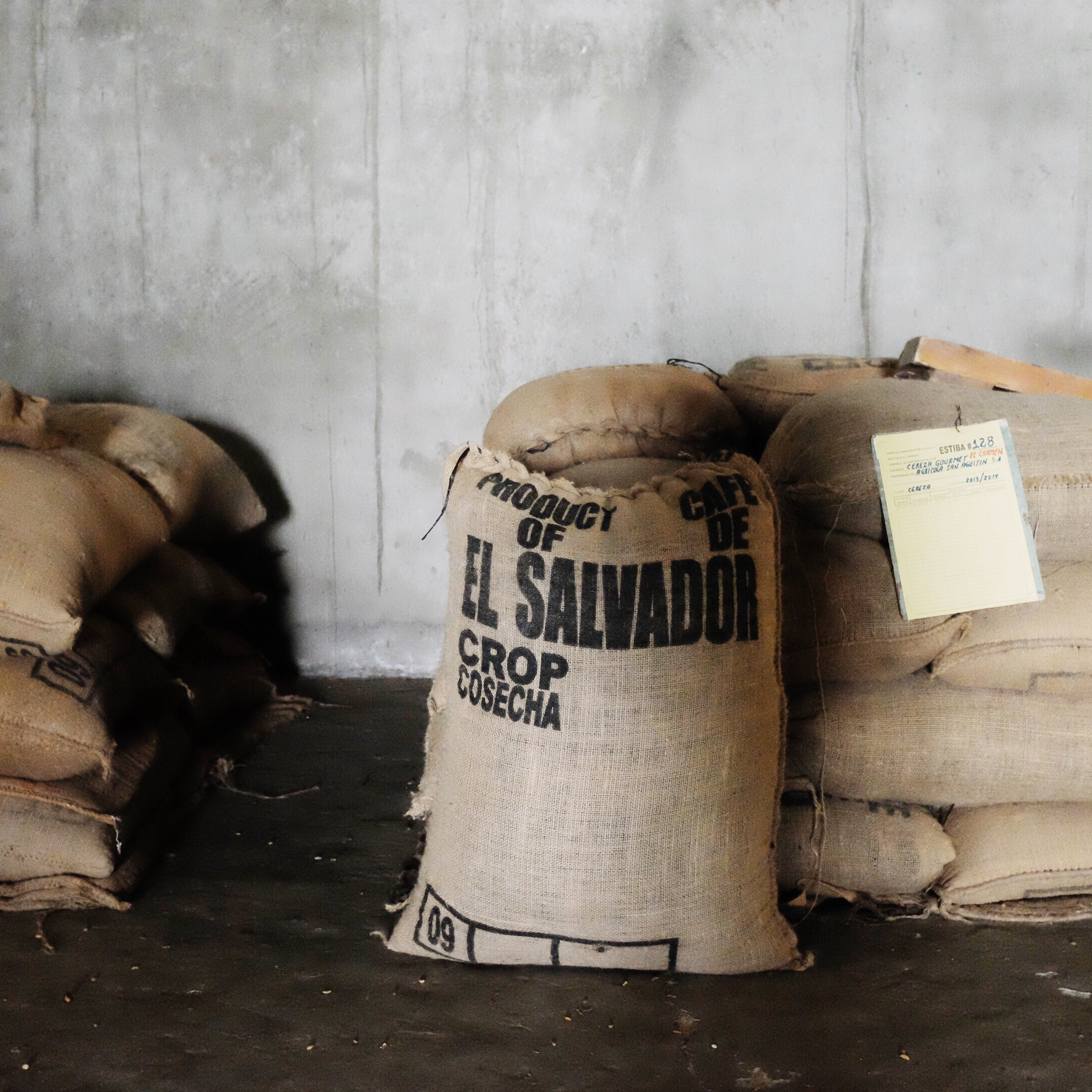 Coffee beans bagged and ready to be exported.