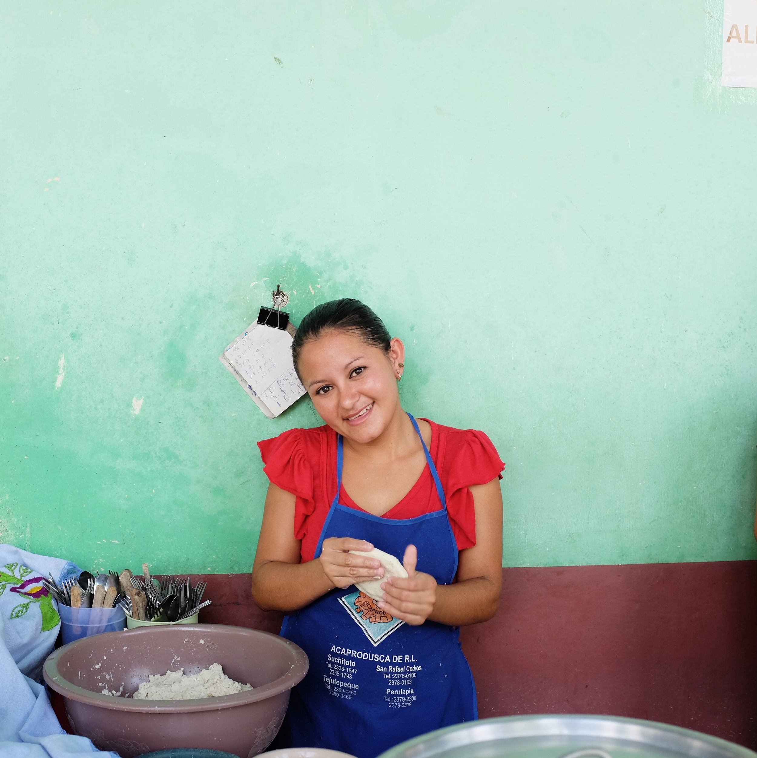 Pupusas  being made in the center of Suchitoto.