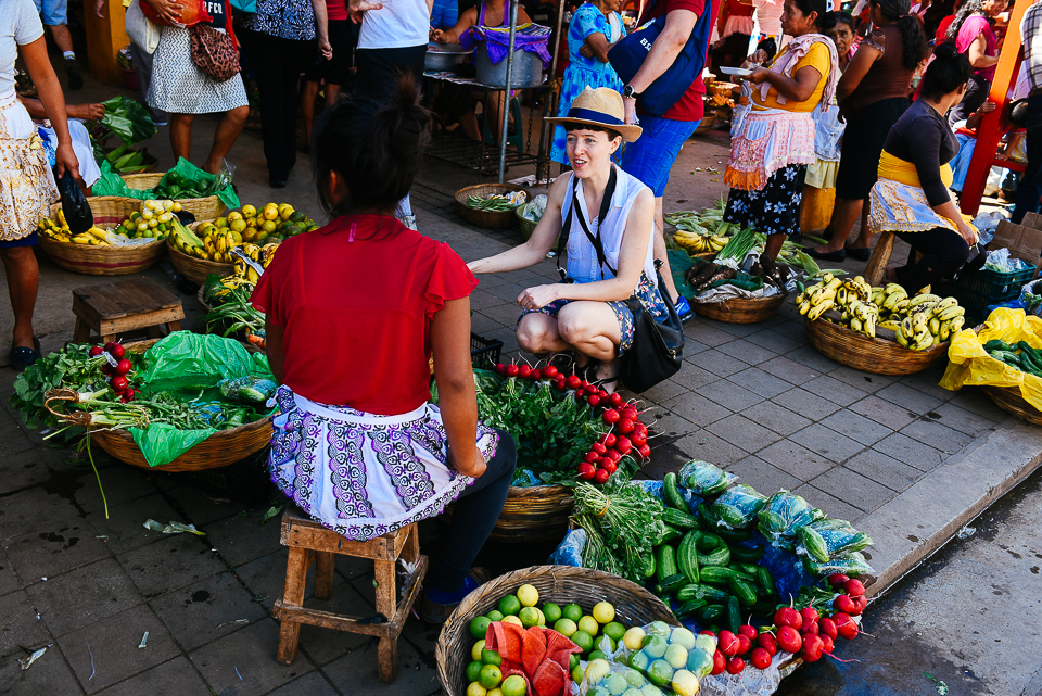 Because we are little ladies with enormous appetites, Tyler shopping for local produce at the market in Nahuizalco.