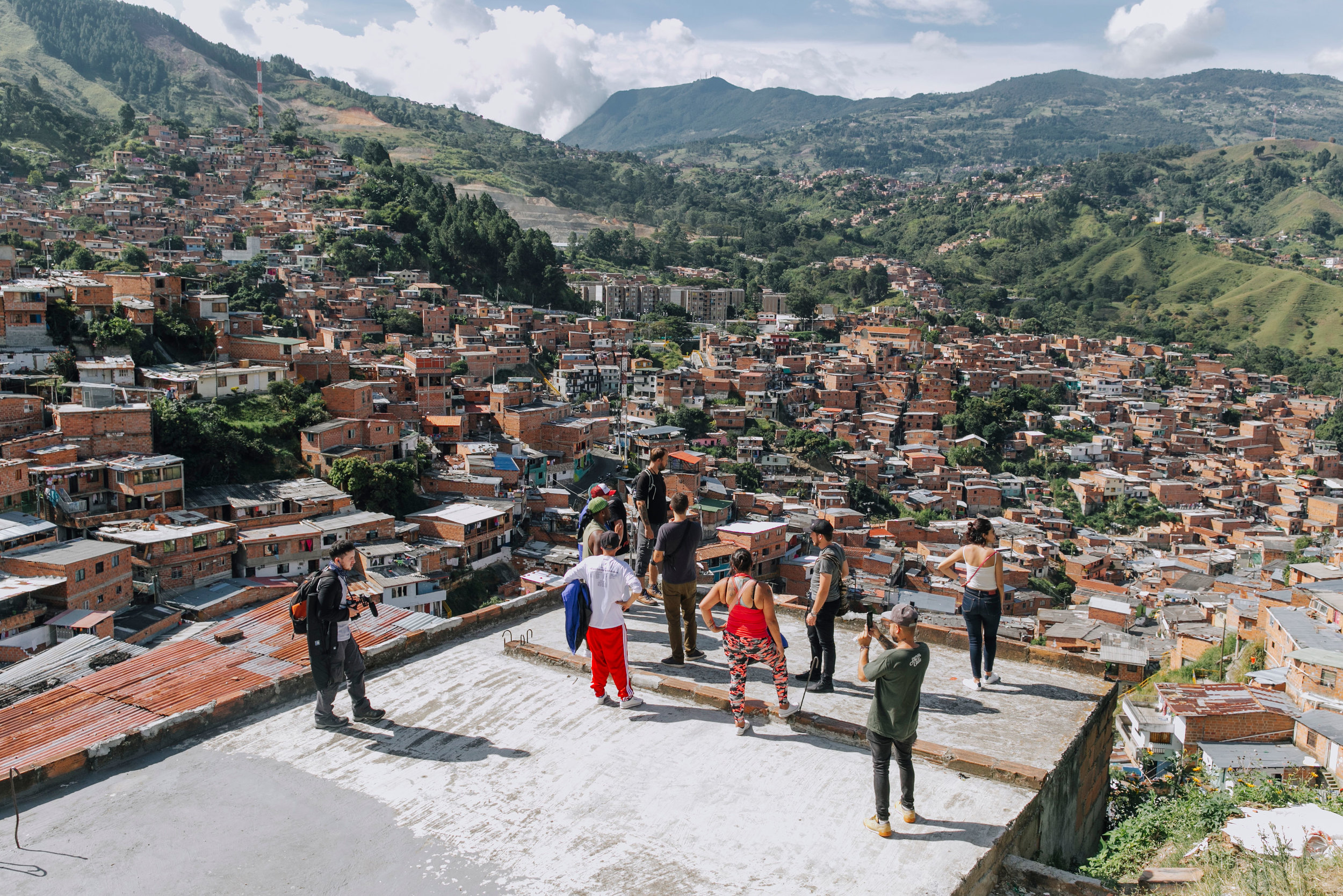 Expansive views of Medellín from the rooftops of Comuna 13. Photo by  Mateo Soto. .