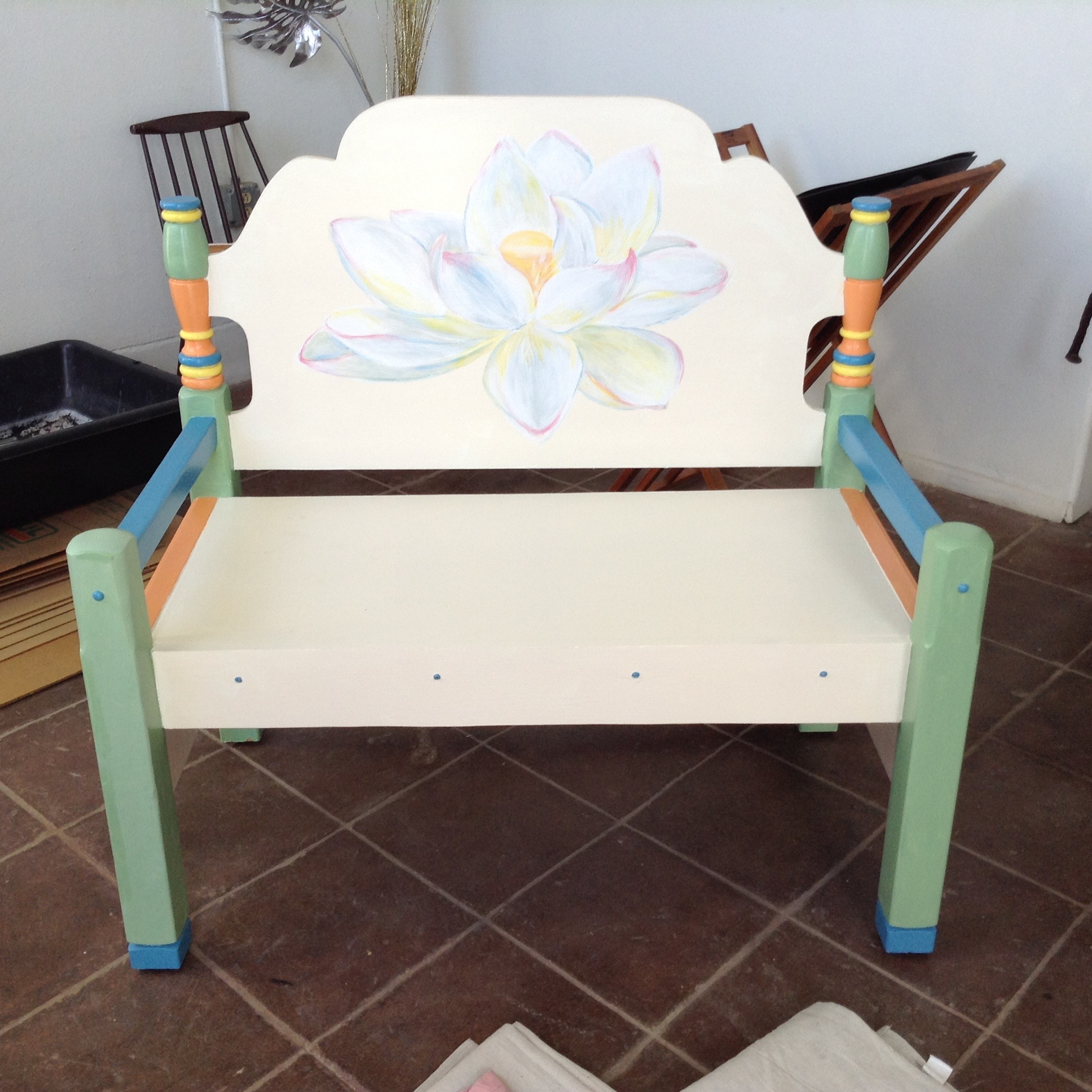 The painted lotus-flower bench.