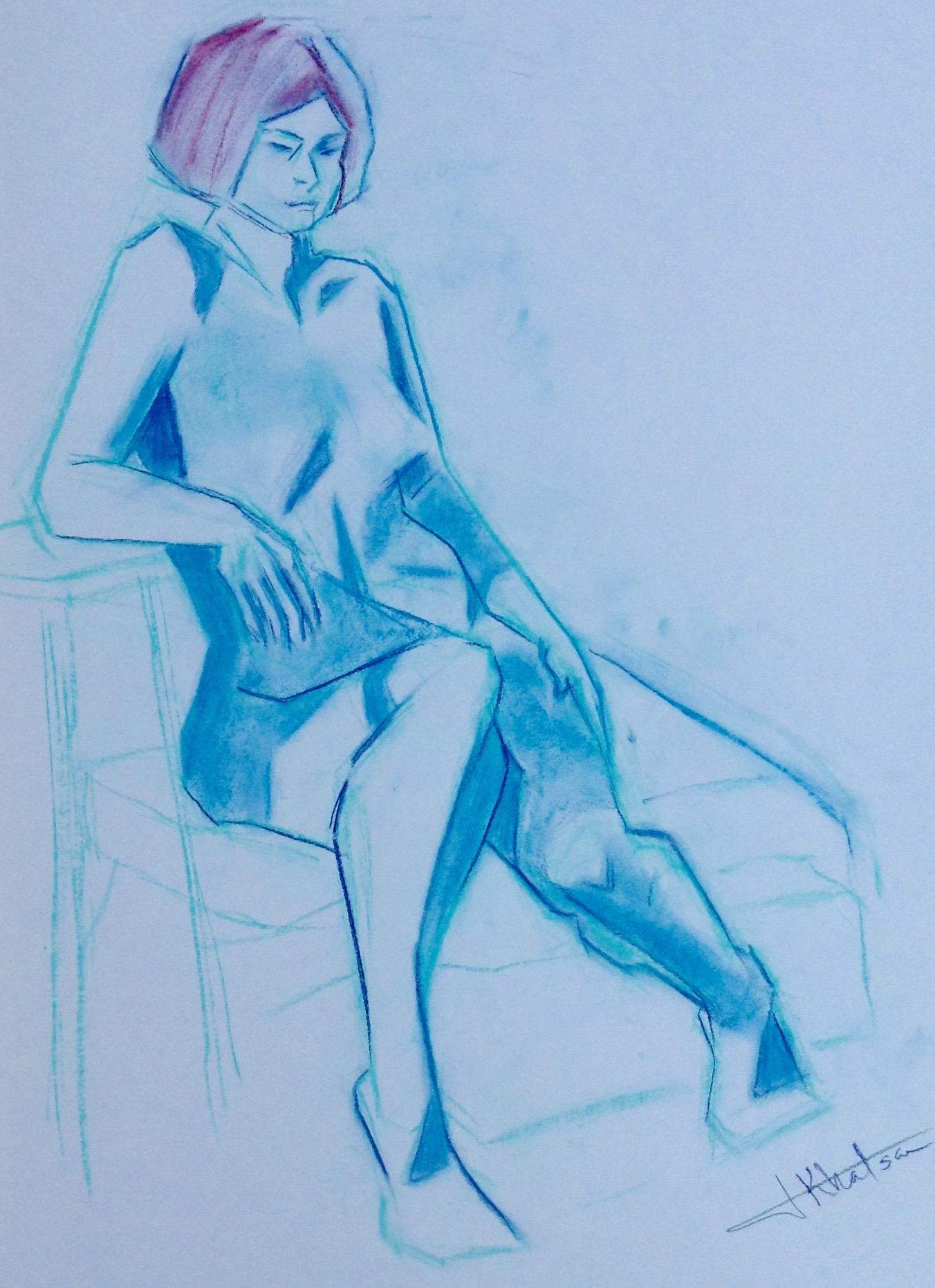 Figure Sketch in conte pastel