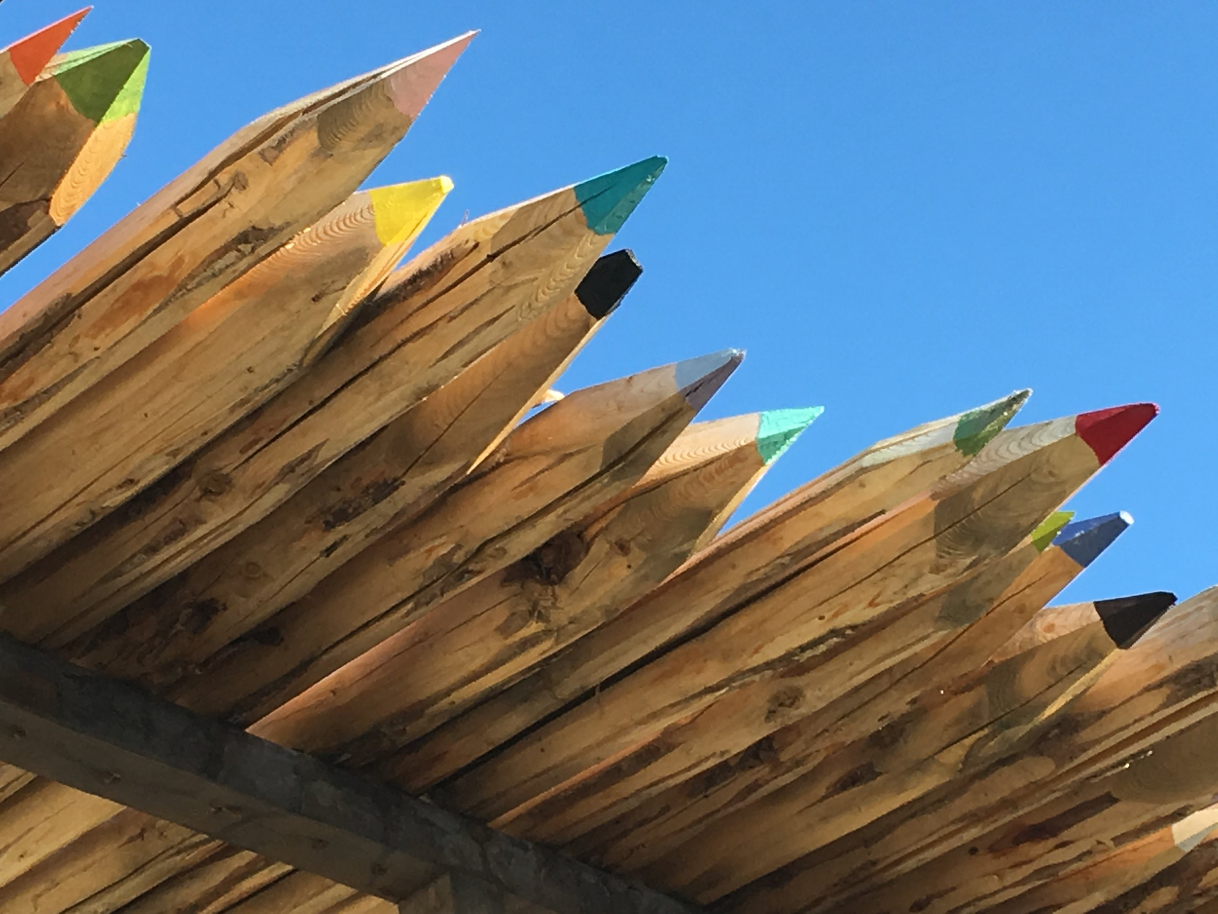Latillas that look like pencils.  At the corner of Austin and Mims in Truth or Consequences, NM.