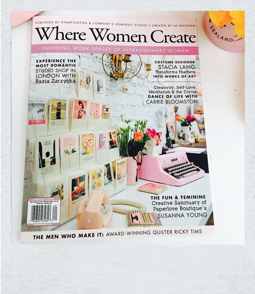 So honored to have been featured in an article and on the cover of the fabulous magazine Where Women Create! Such an inspiring magazine about creative women!