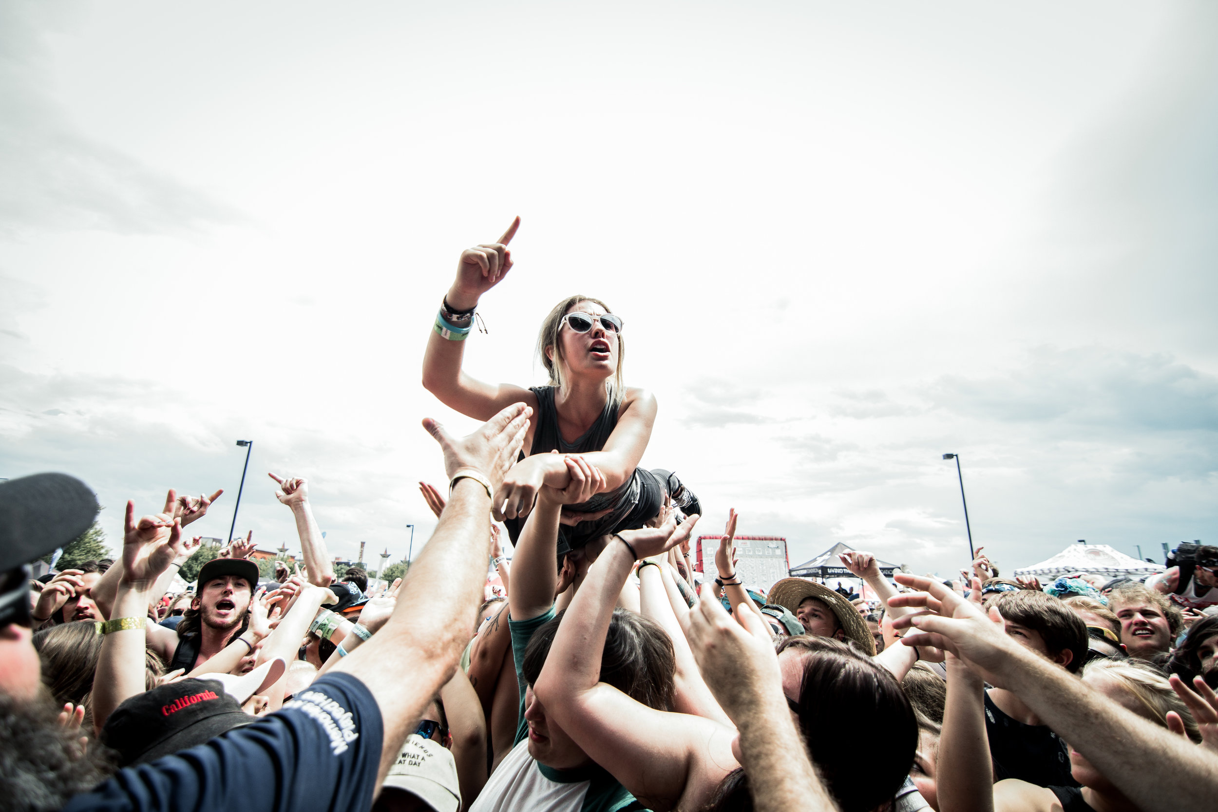 Crowd surfer at Warped. Thanks to Facebook, I was able to find who this chick was and send her the photo.