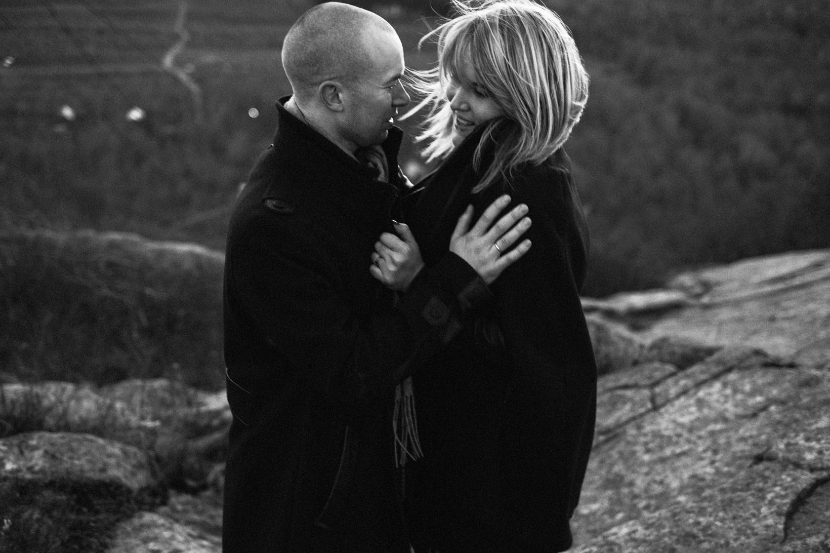 Engaged Rock and roll couple couple on mountain and Montreal adventure session.jpg