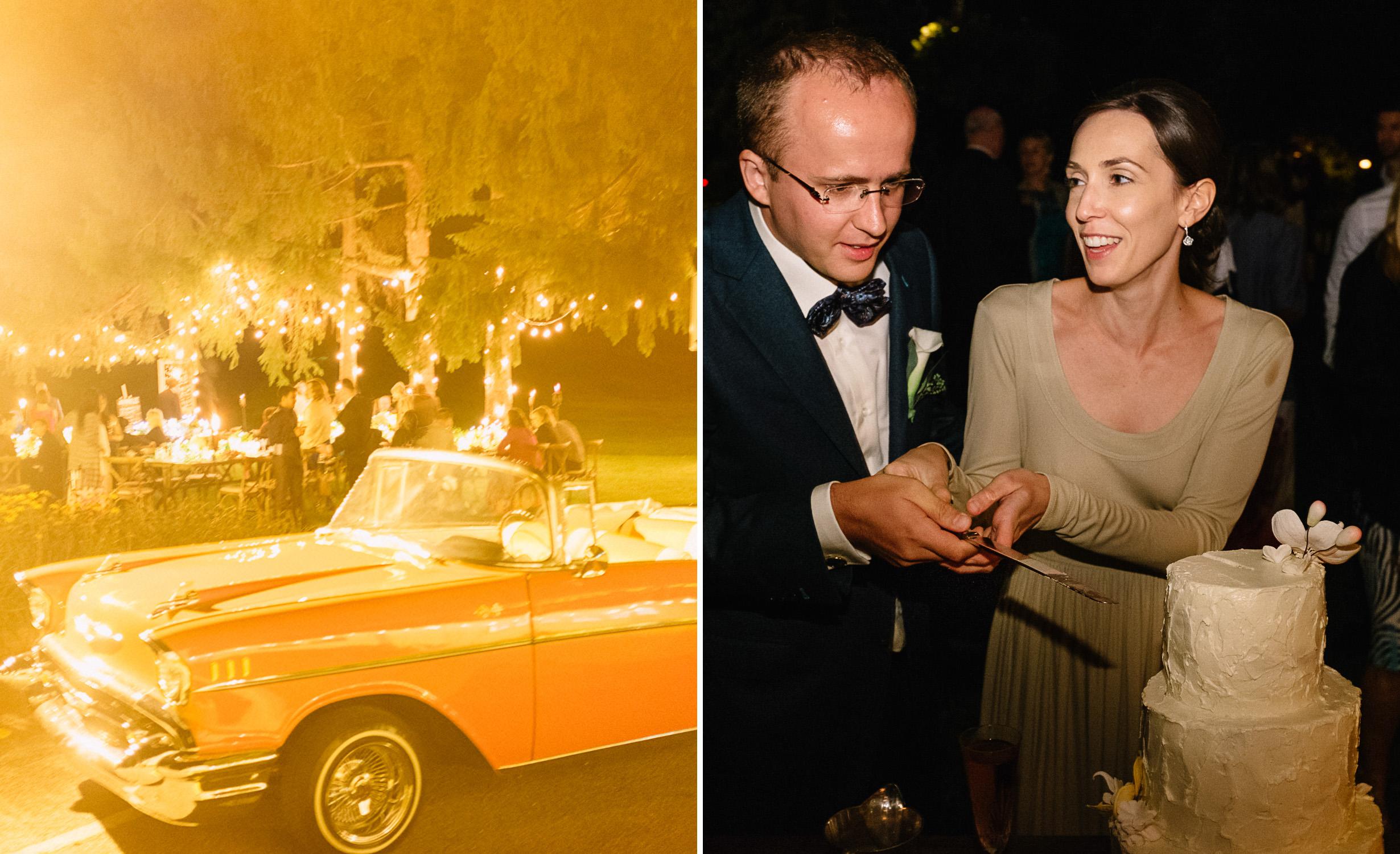 Vintage wedding car at romantic Fritz Farm wedding.jpg
