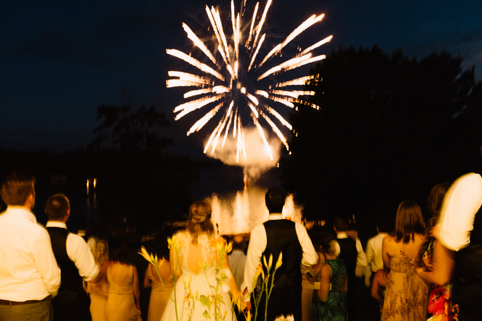 fireworks wedding photography muskoka