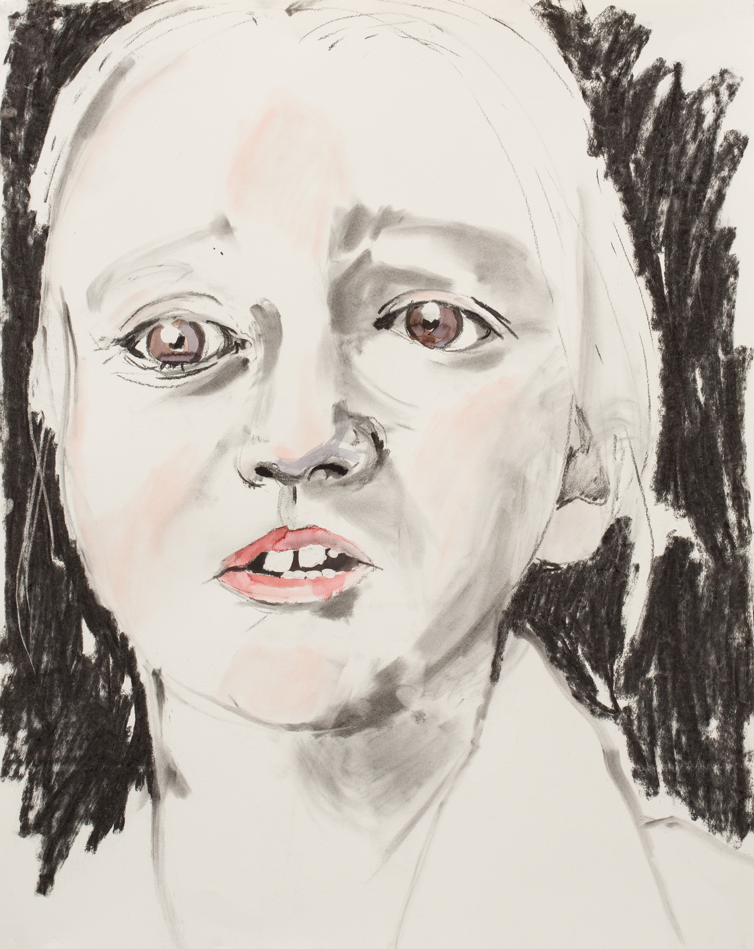 """Expressive Heads of the 21st Century , 2016, charcoal, ink on paper, detail 24"""" x 19"""""""