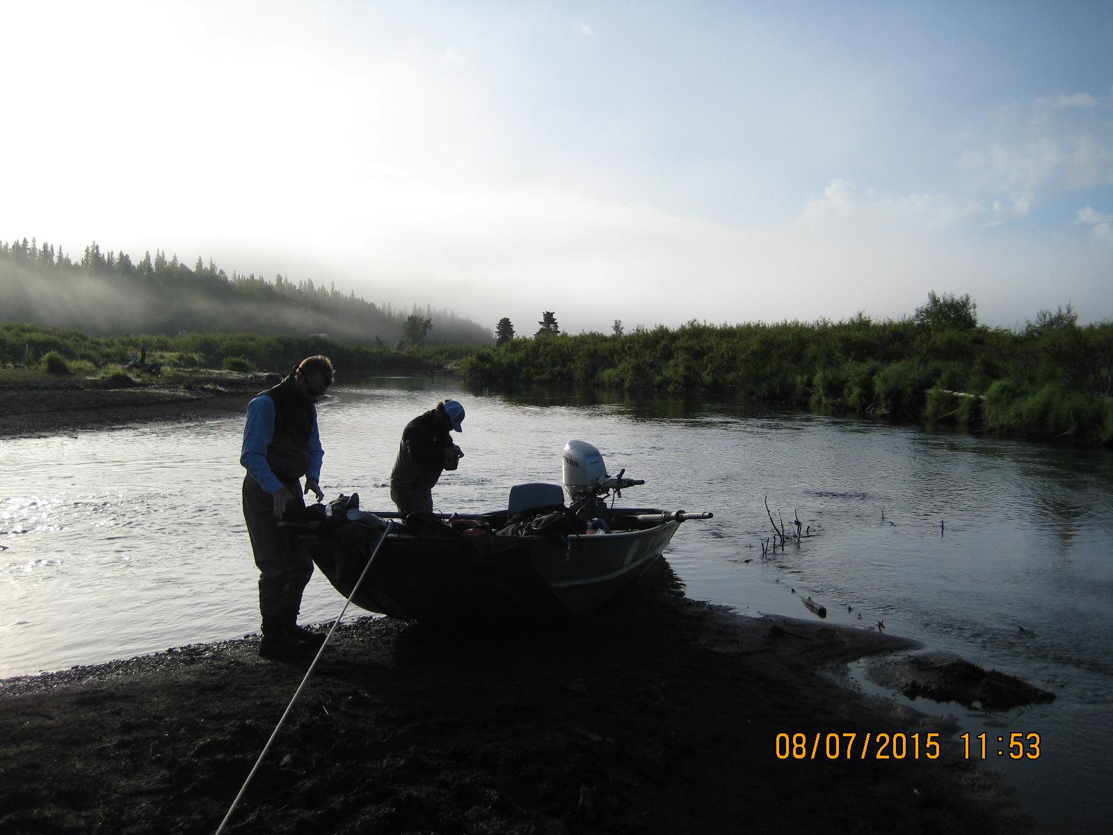 Rob and Greg rigging up for Sunshine Creek