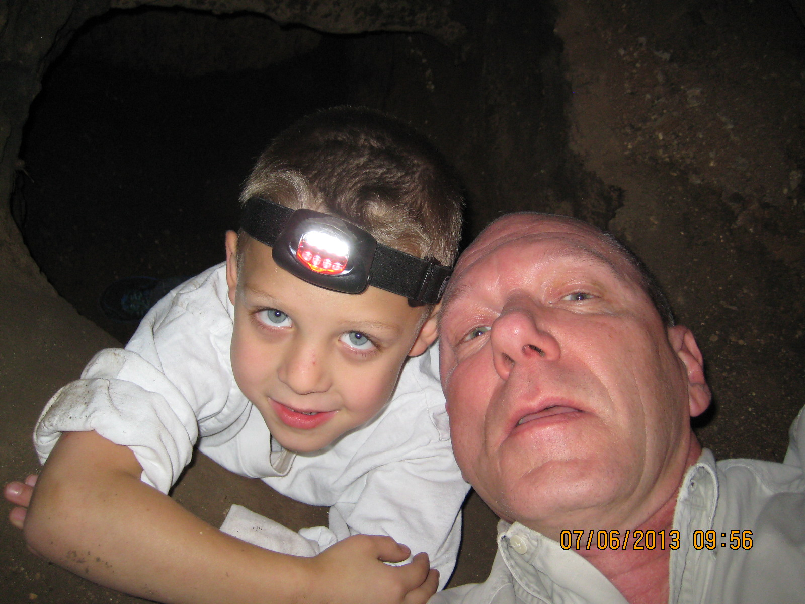 Ben and me checking out the new crawl space. He fit better than I did.
